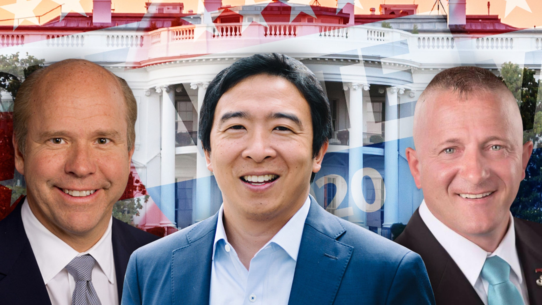 John Delaney, Andrew Yang and Richard Ojeda (from left to right) are among the longshot candidates seeking the Democratic presidential nomination in 2020.