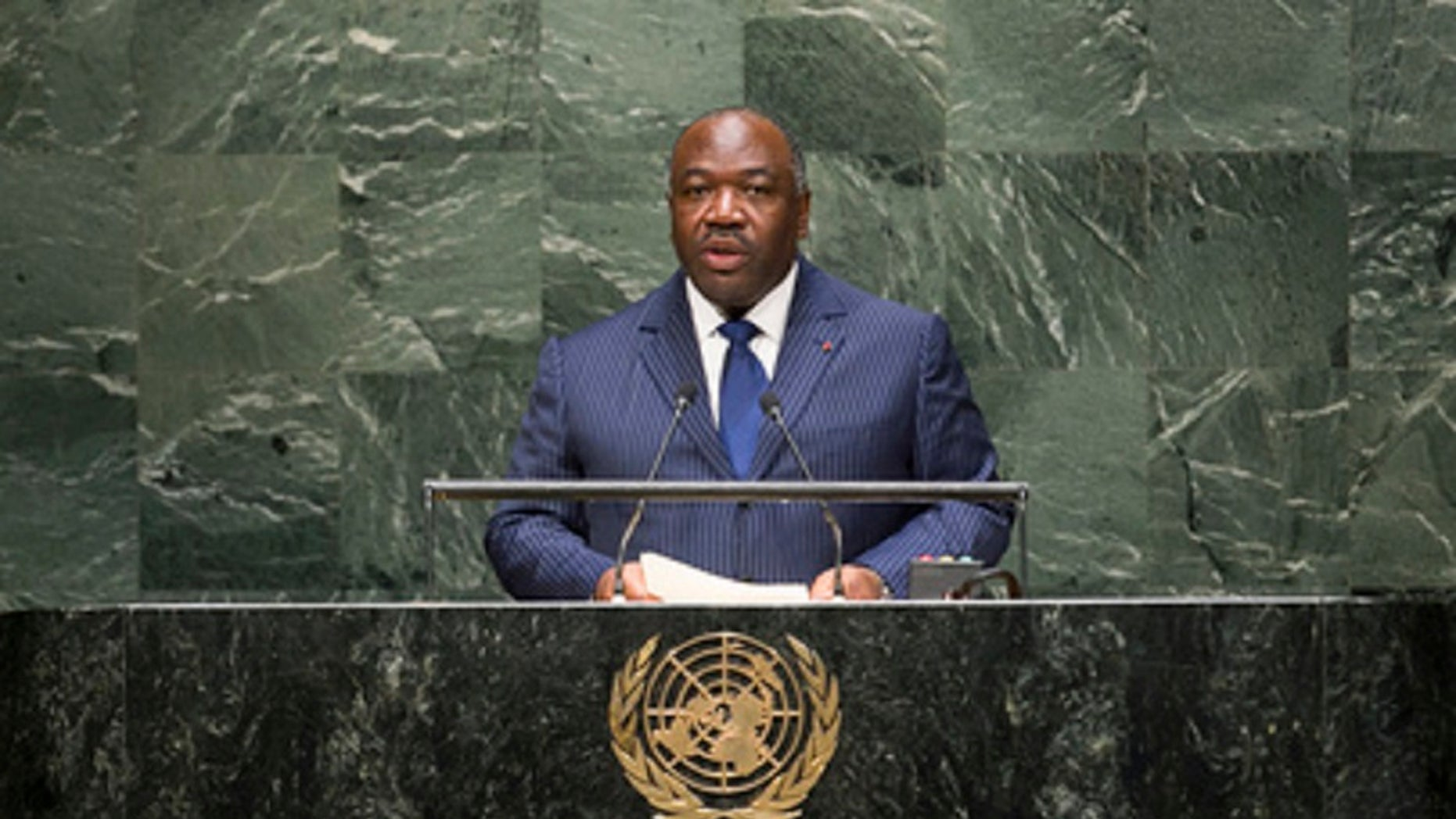 President Ali Bongo, seen here at the U.N., has been out of the country since October amid reports that he had a stroke.