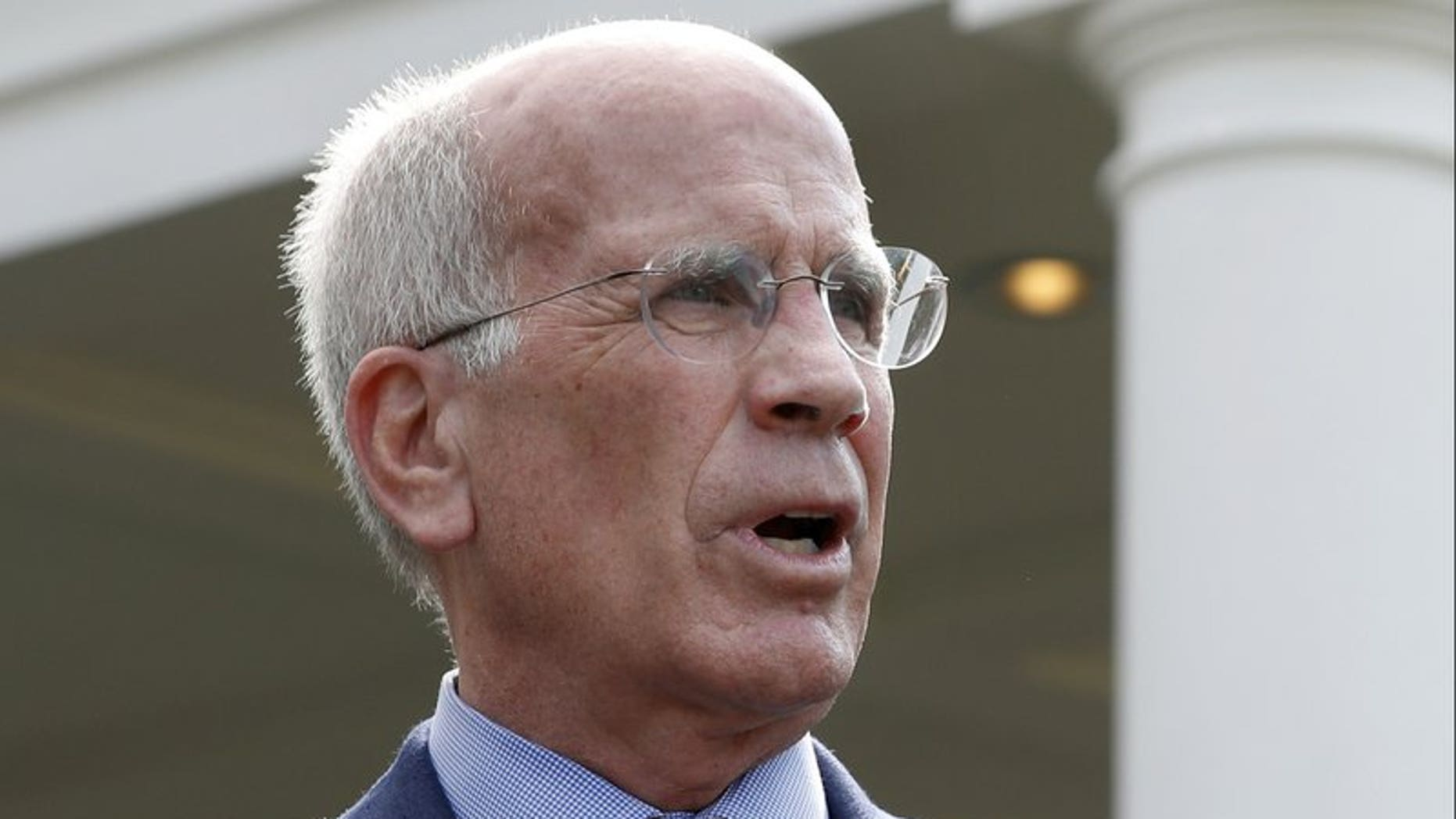 U.S. Rep. Peter Welch, D-Vt., speaks in front of the West Wing after a bipartisan meeting with President Trump at the White House in Washington, Sept. 13, 2017. (Associated Press)