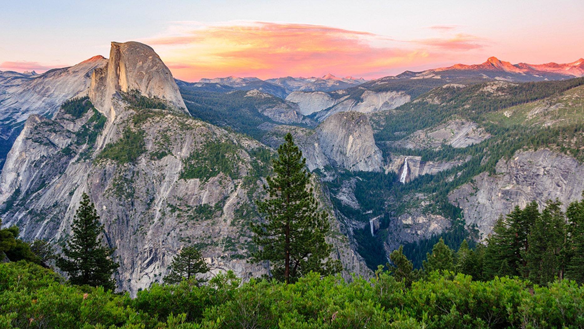 Aerial view of Yosemite National Park in California.