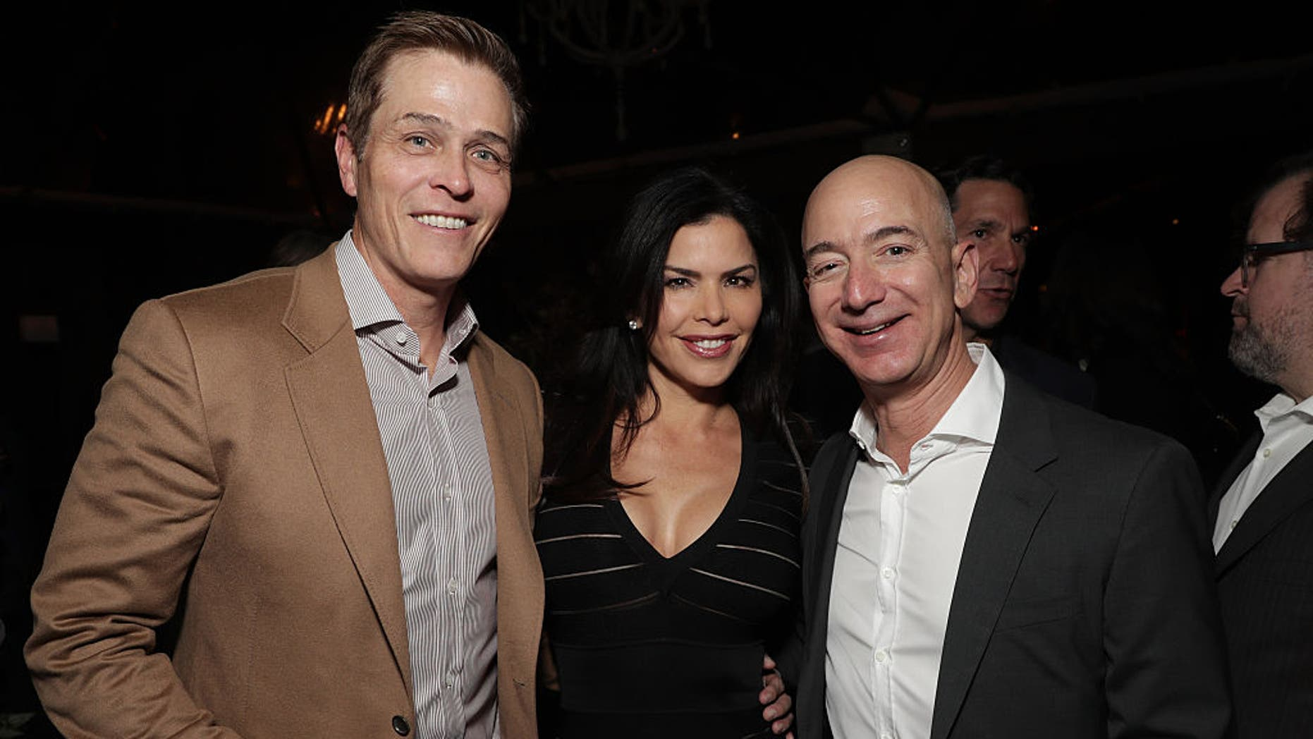 Lauren Sanchez and her reportedly-estranged husband Patrick Whitesell with Amazon CEO Jeff Bezos in 2016. (Photo by Todd Williamson/Getty Images for Amazon Studios)