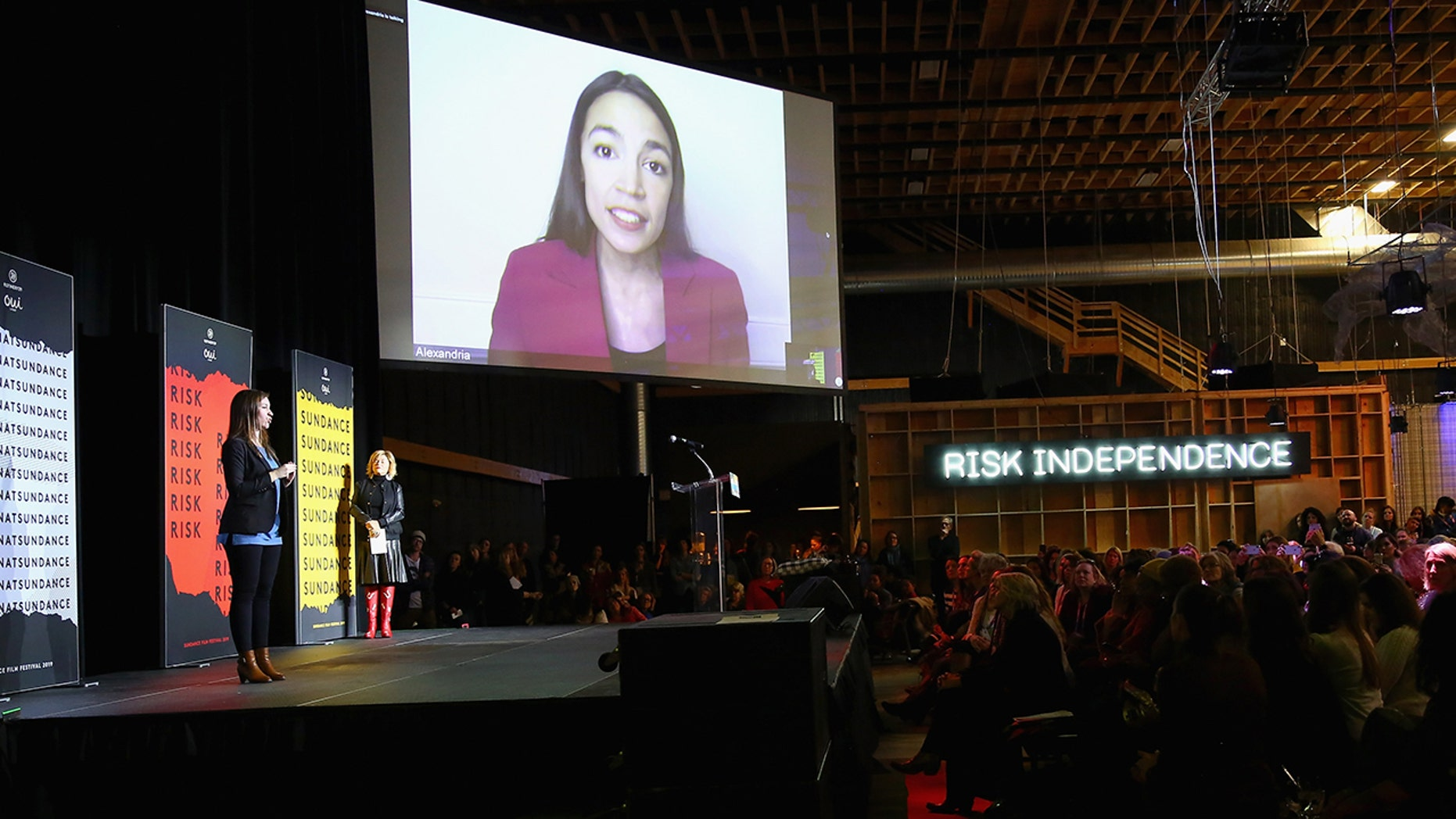 U.S. Representative Alexandria Ocasio-Cortez speaks via video at the Women At Sundance Celebration Hosted By Sundance. (Photo by Suzi Pratt/Getty Images for Refinery29)
