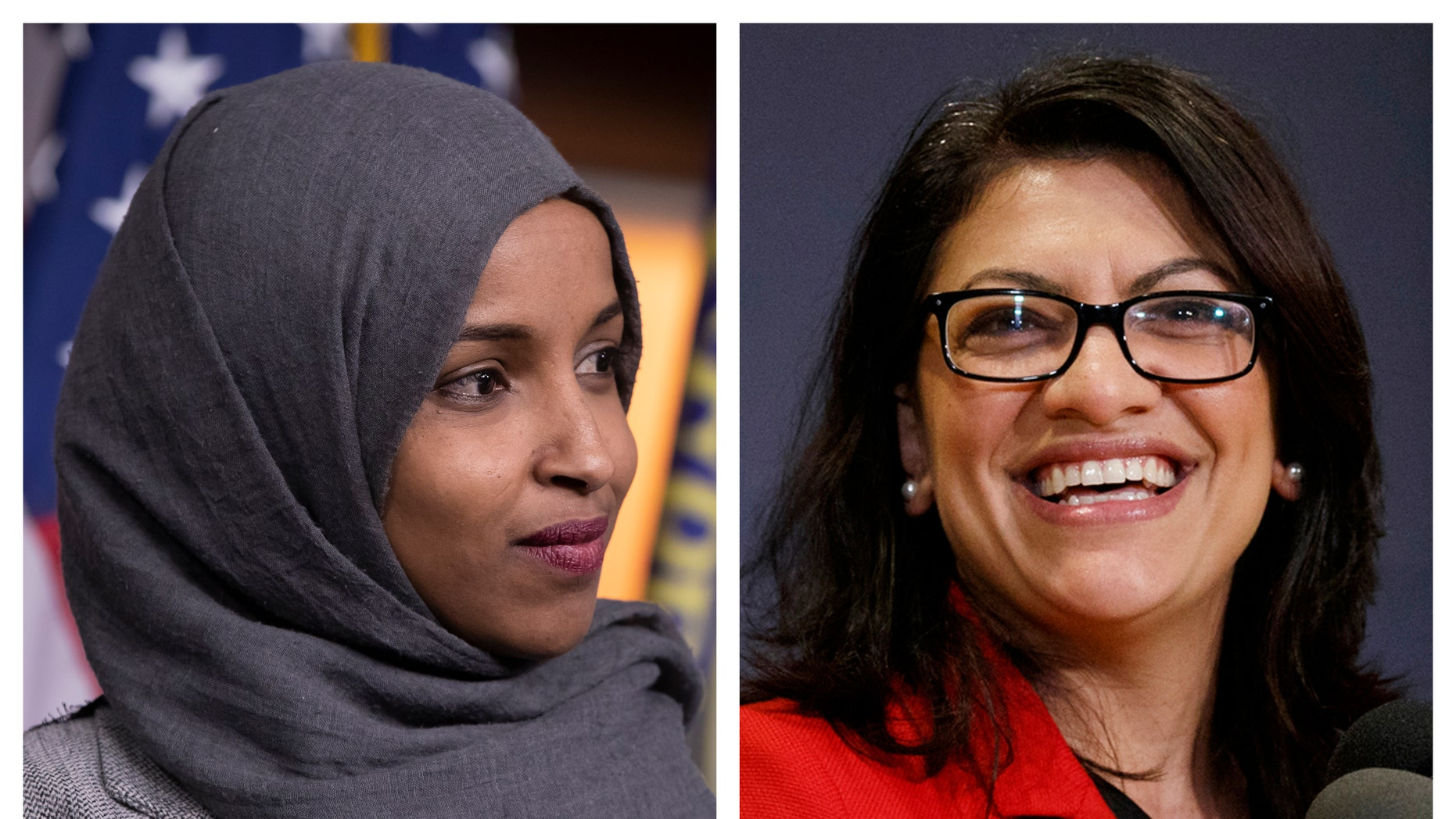 FILE - This combination of 2018 photos shows Reps.-elect Ilhan Omar, D-Minn., left, and Rashida Tlaib, D-Mich., in Washington. (AP Photo/Carolyn Kaster, File)
