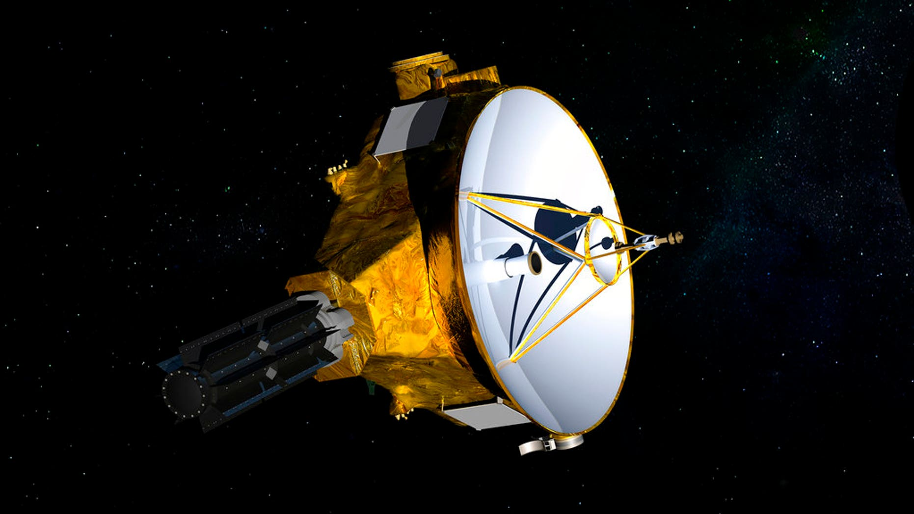 FILE: This illustration provided by NASA shows the New Horizons spacecraft which was launched in 2006. The probe is set to fly past the mysterious object nicknamed Ultima Thule at 12:33 a.m. Tuesday.
