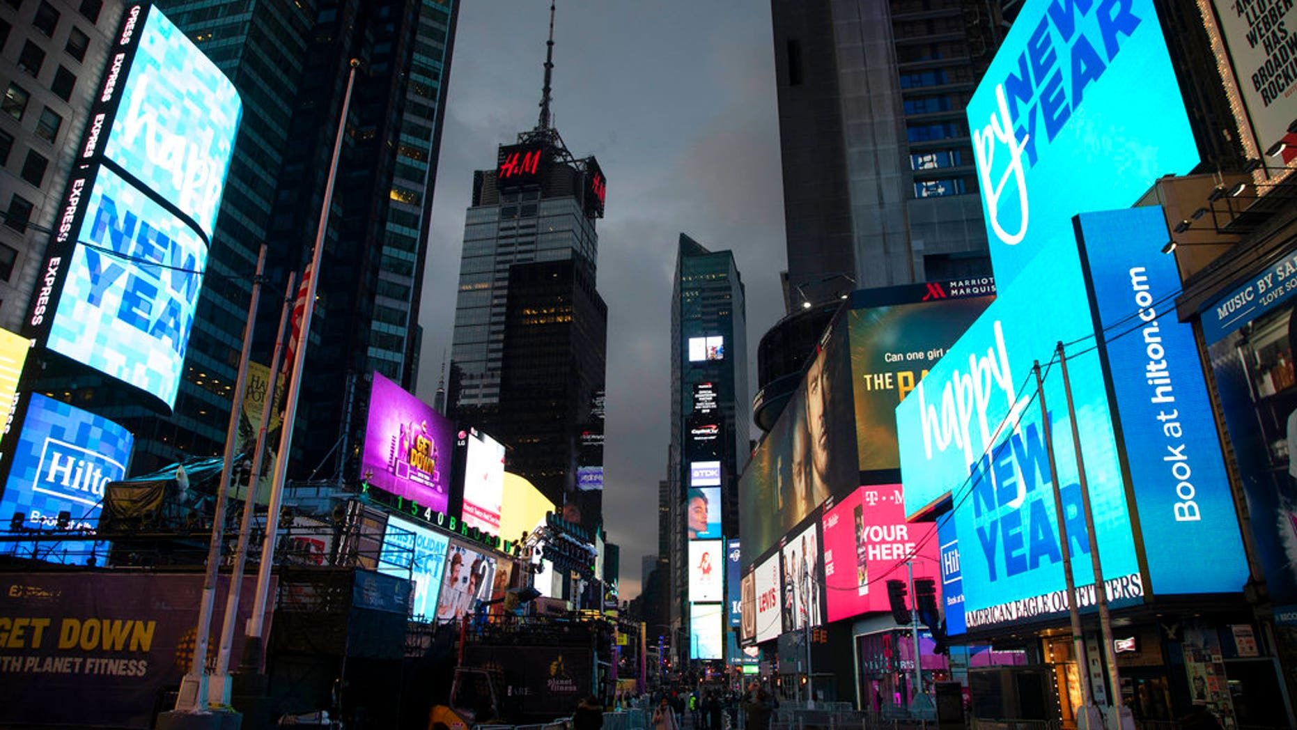 Billboards welcome in the new year in New York's Times Square, Monday, Dec. 31, 2018. (Associated Press)