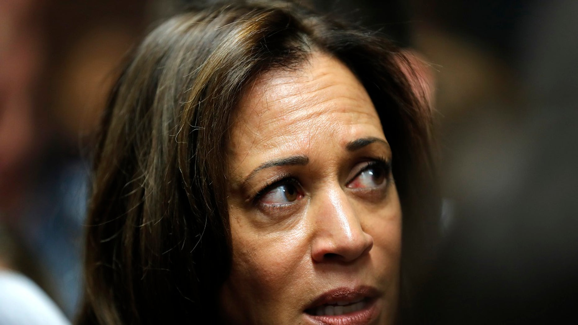 U.S. Sen. Kamala Harris, D-Calif., speaks to reporters following an event at Des Moines Area Community College in Ankeny, Iowa. (Associated Press)
