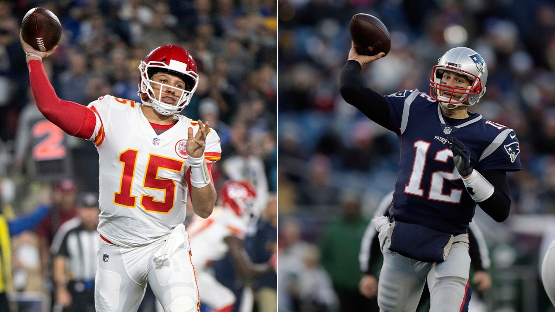 Quarterbacks Patrick Mahomes,left, of the Kansas City Chiefs, and Tom Brady of the New England Patriots will face each other in Sunday's AFC Championship Game in Kansas City. The winning team wil advance to the Super Bowl. (Associated Press)