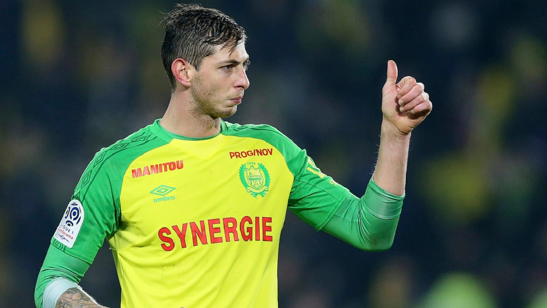 Argentine soccer player Emiliano Sala, of the FC Nantes club, western France, gives a thumbs up during a soccer match against PSG in Nantes, France, Jan. 14, 2018. (Associated Press)