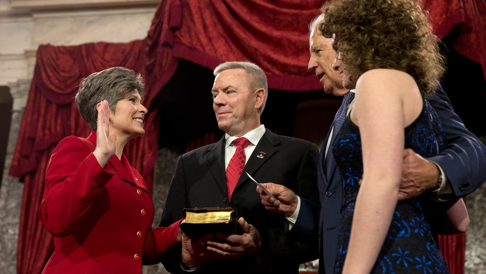 Sen. Joni Ernst, R-Iowa, says she turned down the chance to pursue running as President Trump's vice president in 2016 because of her husband, Gail Ernst. The two have finally settled their previously contentious divorce. (AP Photo/Jacquelyn Martin, File)