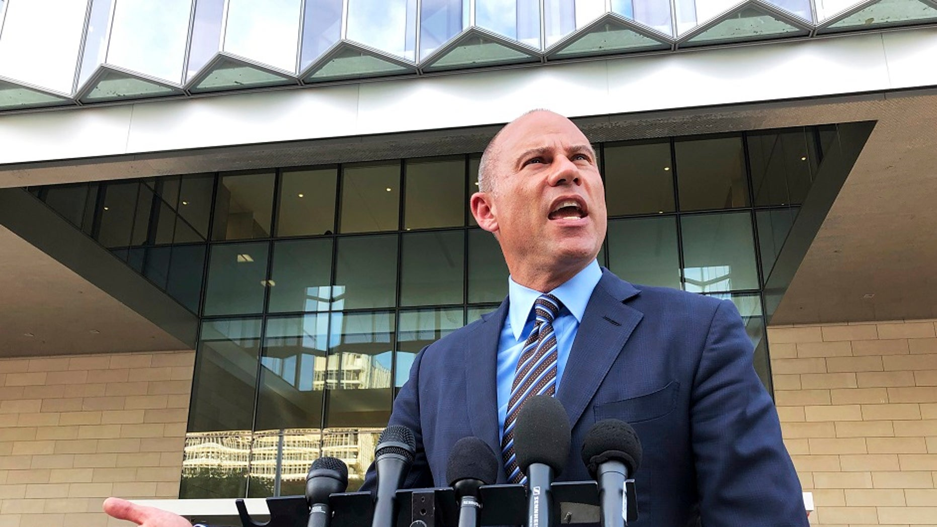 Michael Avenatti, attorney for porn actress Stormy Daniels, talks to reporters outside federal court in Los Angeles, Jan. 22, 2019. (Associated Press)