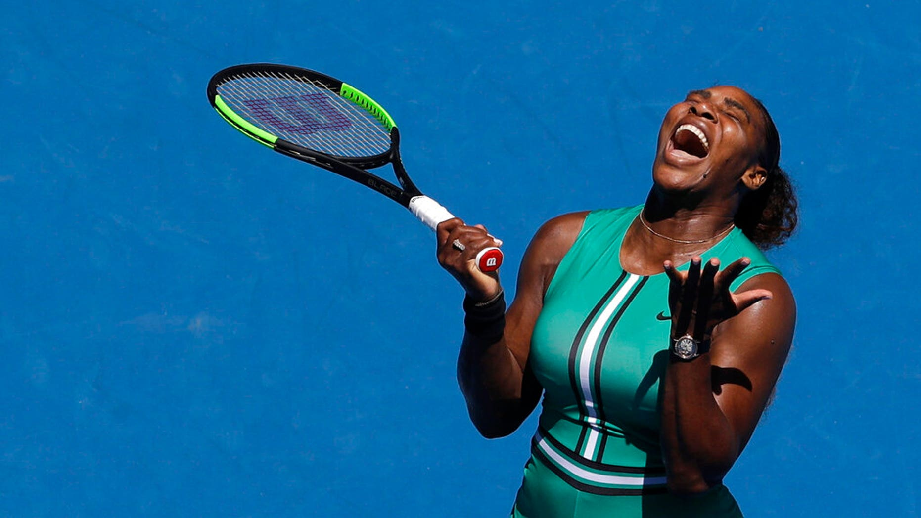 United States 'Serena Williams reacts after losing a point to Karolina Pliskova of the Czech Republic during their quarterfinal match at the Australian Open tennis.