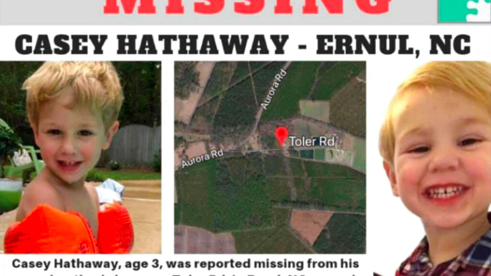 """Authorities say they are treating the disappearance of a 3-year-old North Carolina boy as """"missing child investigation."""""""