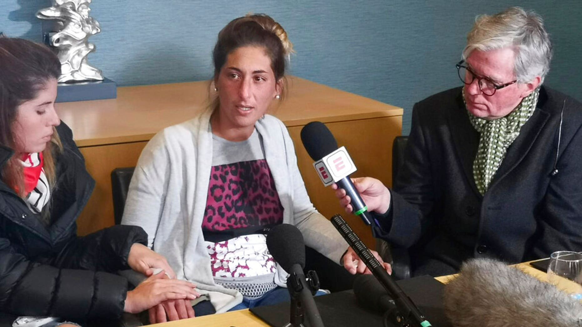 Romina Sala, the sister of Emiliano Salatalks during apress conference at St David's Hotel in Cardiff, Wales, Thursday Jan. 24, 2019.
