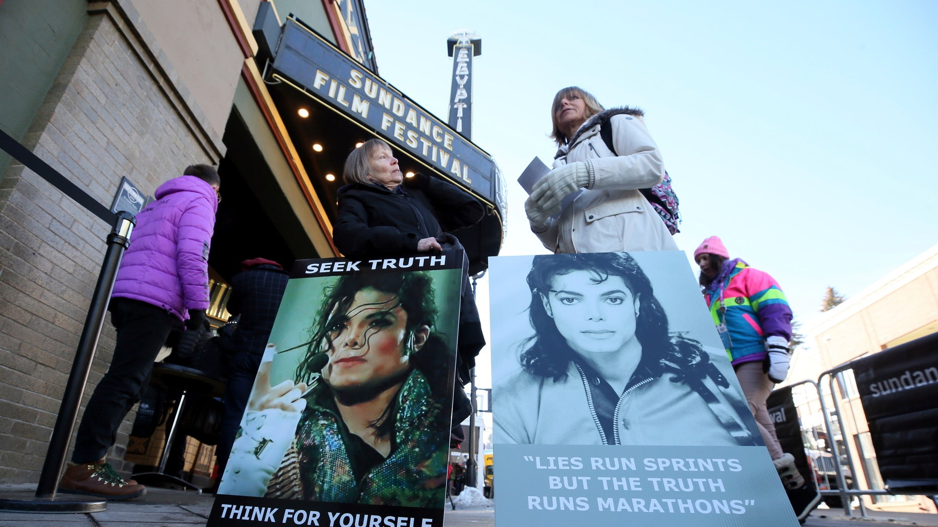 Protestors face the debut of Leaving Neverland, a documentary that investigates abuse claims against Michael Jackson. His legacy responded when he set the film up as protesters