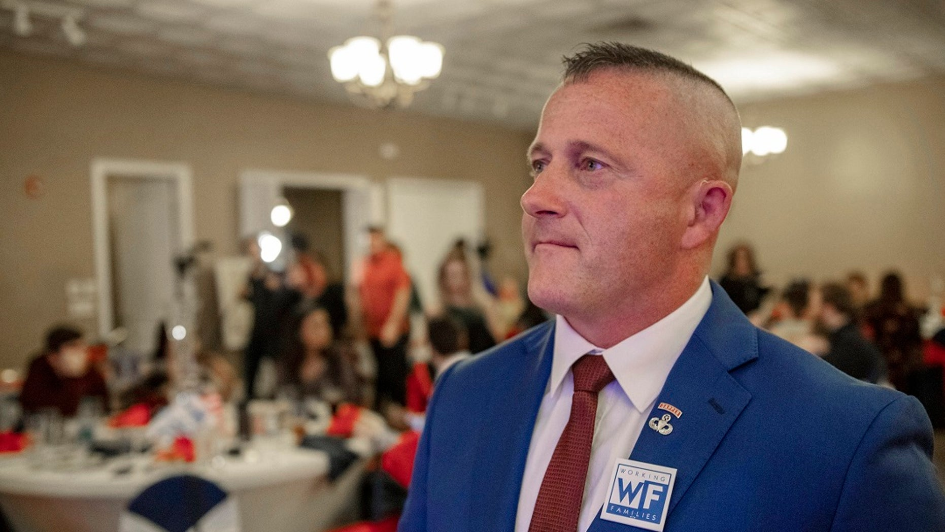 Richard Ojeda, a Democratic candidate for West Virginia's 3rd Congressional District, watches election results during his campaign's watch party at Special Occasions in Yuma, W.Va., Nov. 6, 2018.(Associated Press)