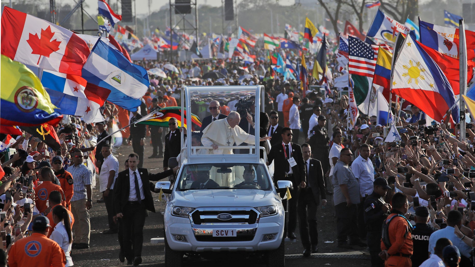 Pope Francis arrives in his popemobile to close out World Youth Day in Panama City, Panama in a mass on Sunday attended by an estimated 700,000 people