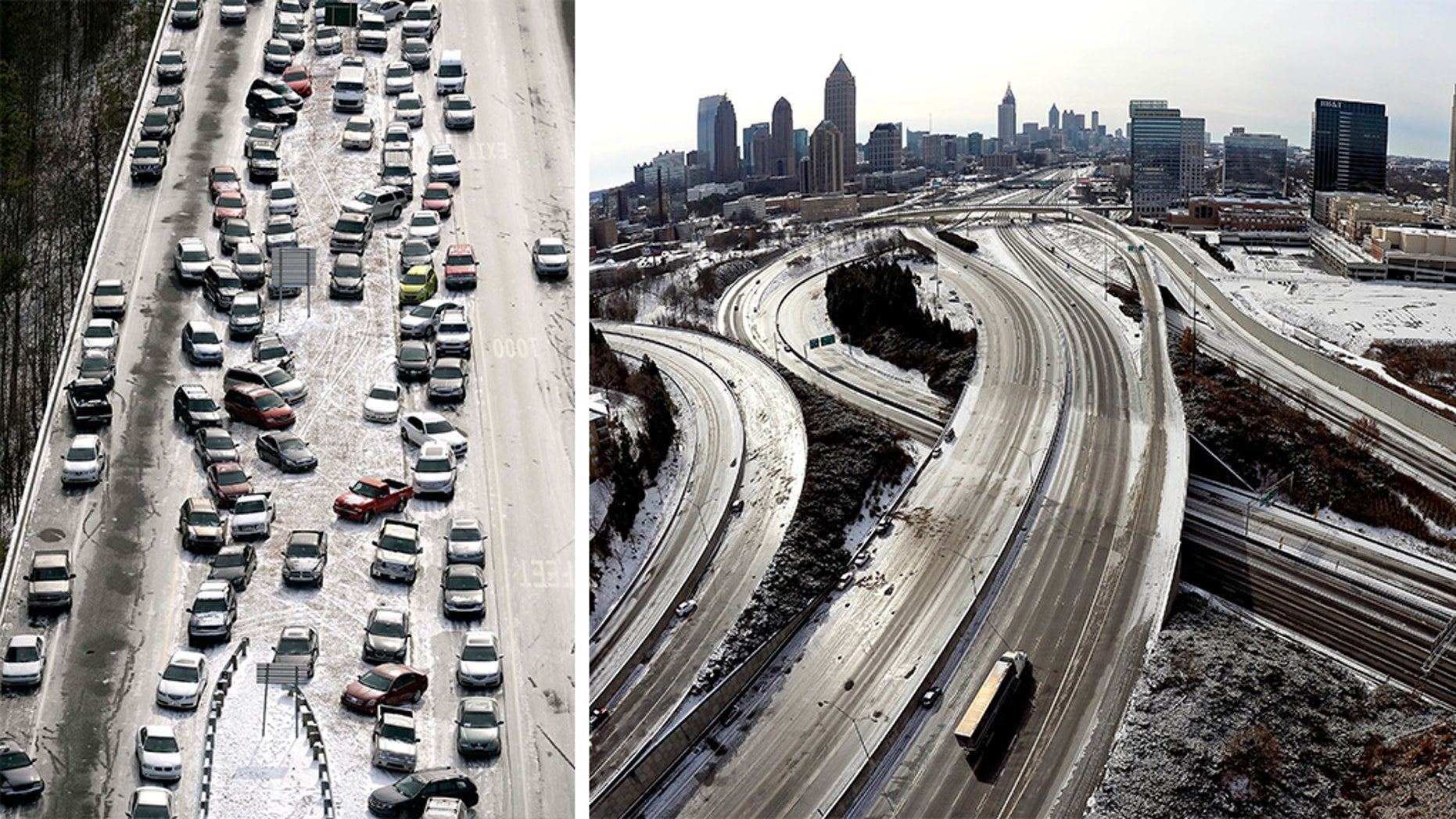 These 2014 photos show how a snowstorm left its impact on Atlanta, a city known for grinding to a halt even in relatively light snowfalls. (AP, File)