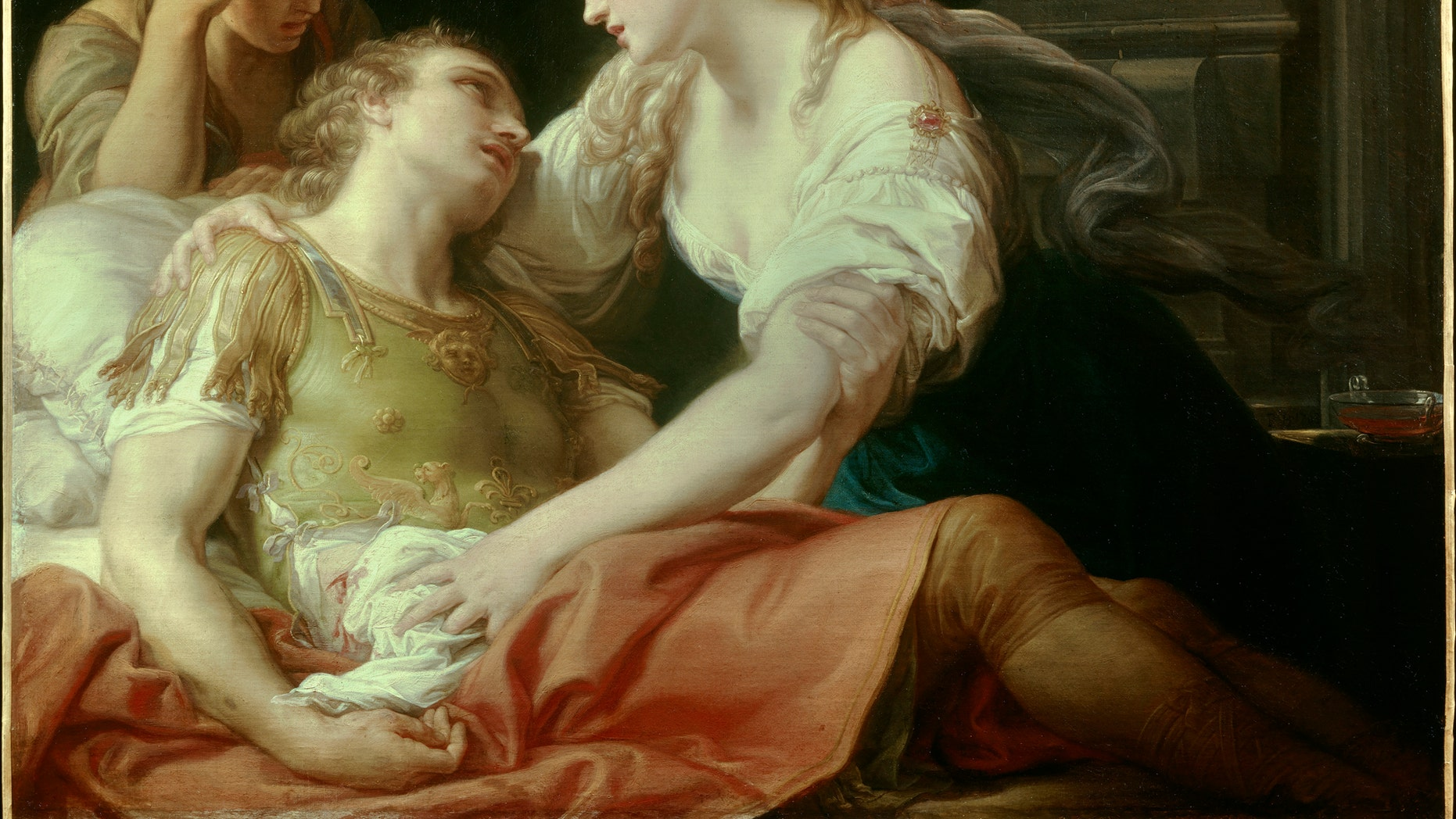File photo - Batoni Pompeo (1708-1787) , Cleopatra and the dying Mark Antony ( 1763 - oil on canvas) , Fine Art Museum Brest.