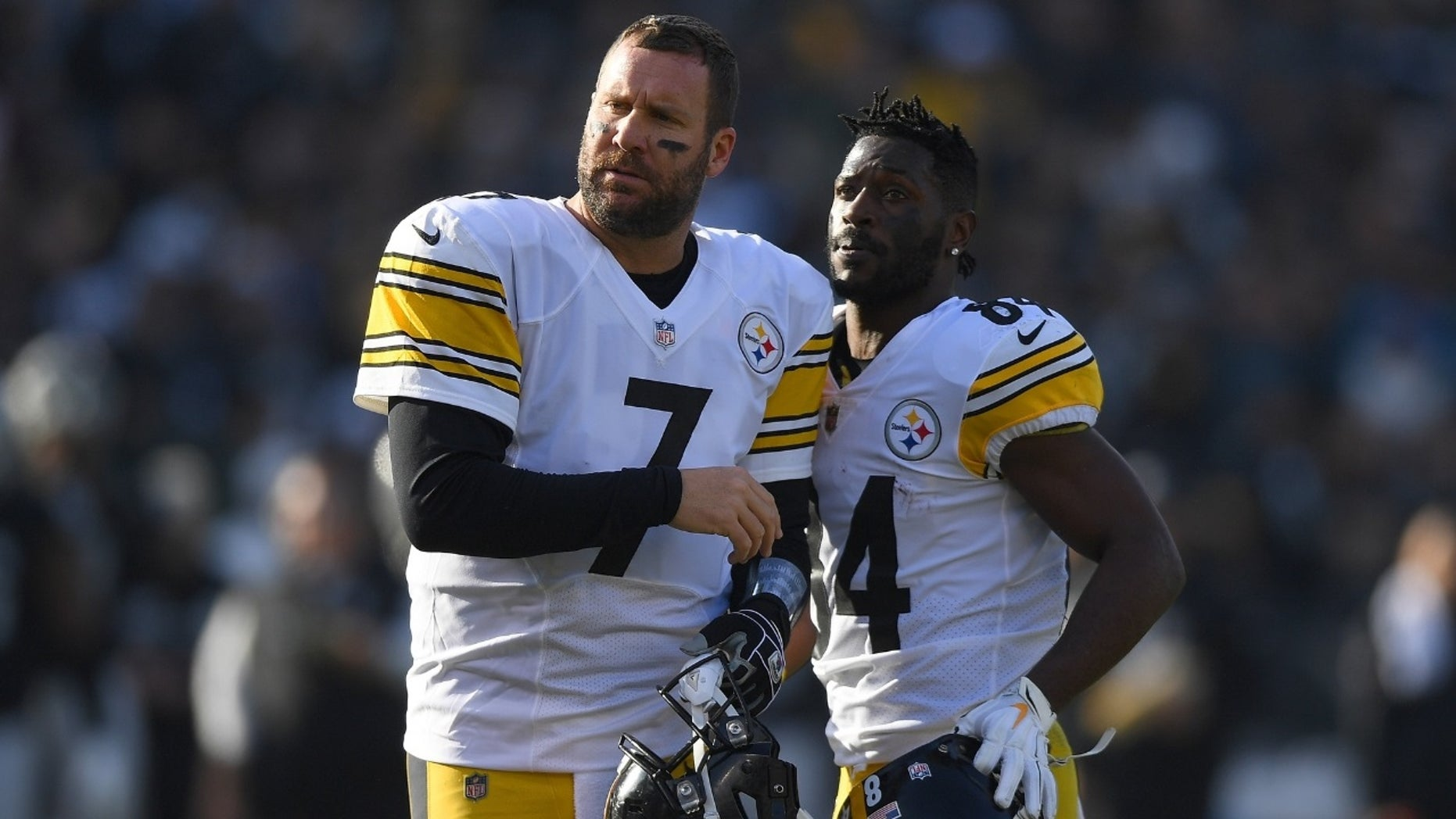 ffc62276 Pittsburgh Steelers star receiver Antonio Brown [right] was benched last  week following a heated