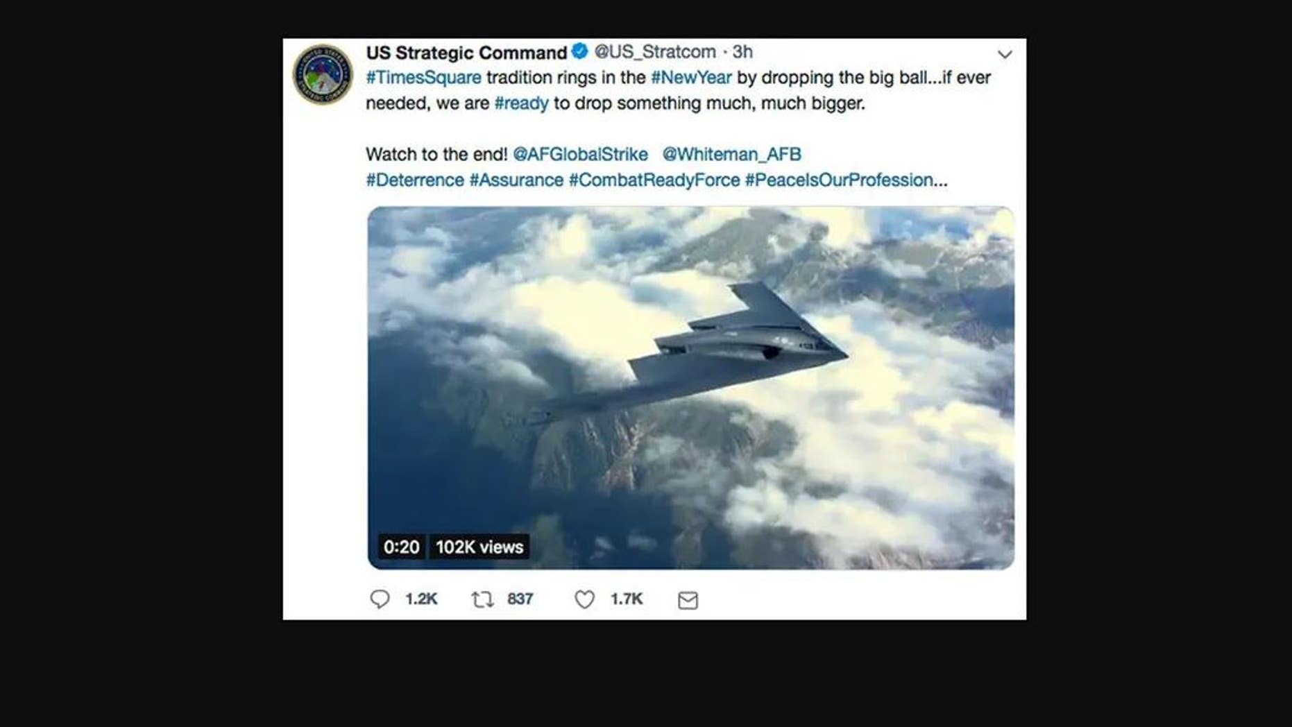 USA military deletes, apologizes for New Year's Eve bomb tweet