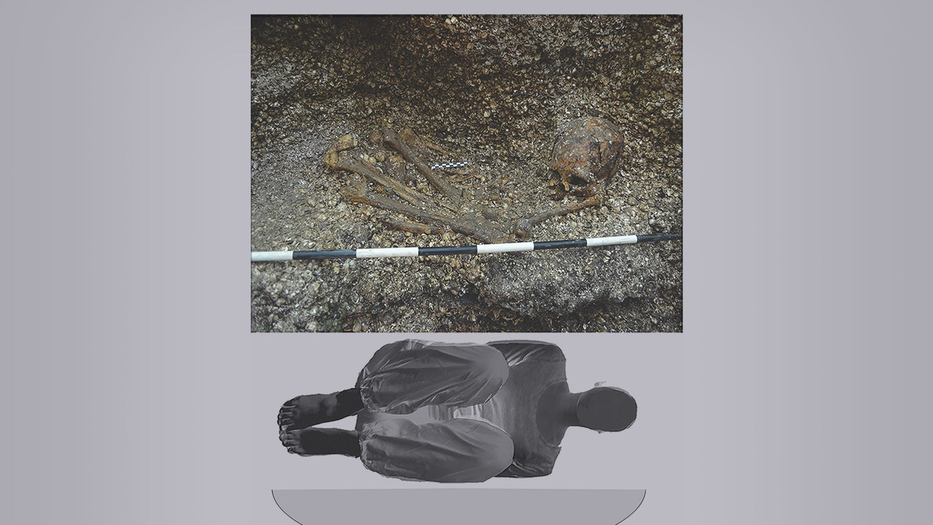 The excavated burial (top) of the ancient woman, next to an illustration (bottom) of how she was buried in a shallow oval pit about 5,900 years ago.