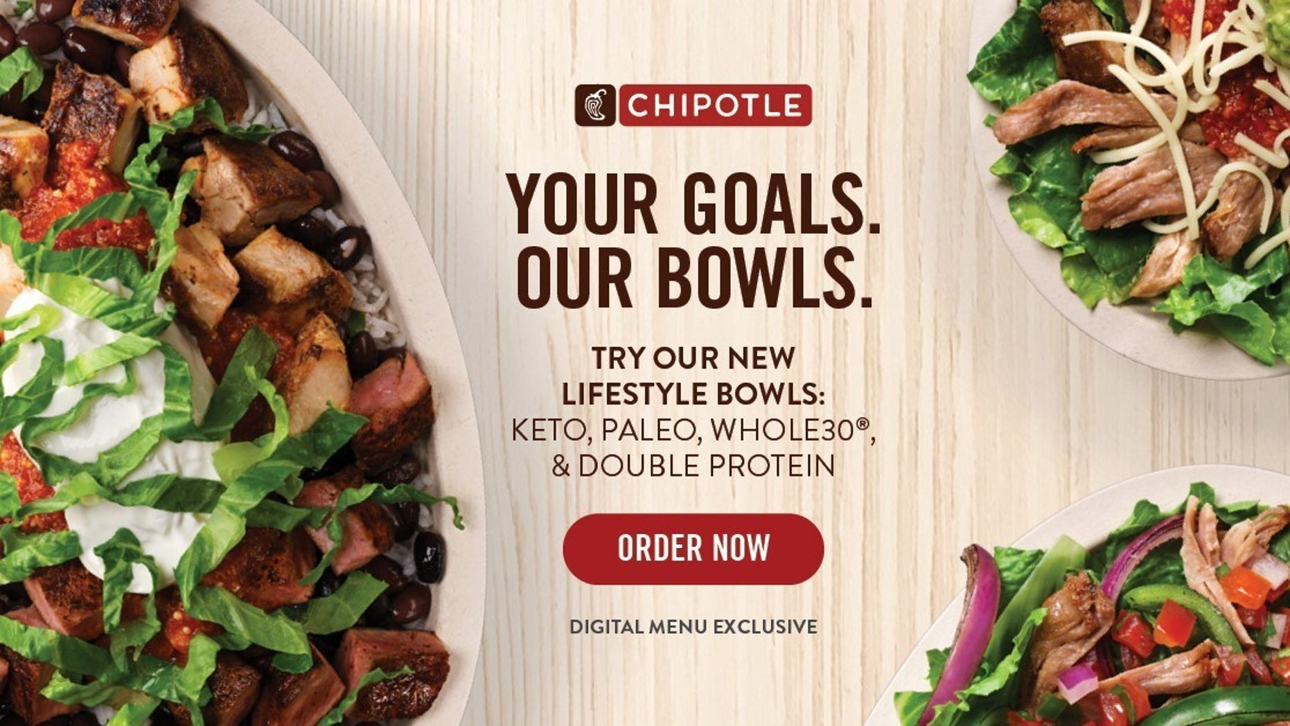 Chipotle's new Lifestyle Bowls include a Whole30® Salad Bowl, a Paleo Salad Bowl, a Keto Salad Bowl and a Double Protein Bowl.