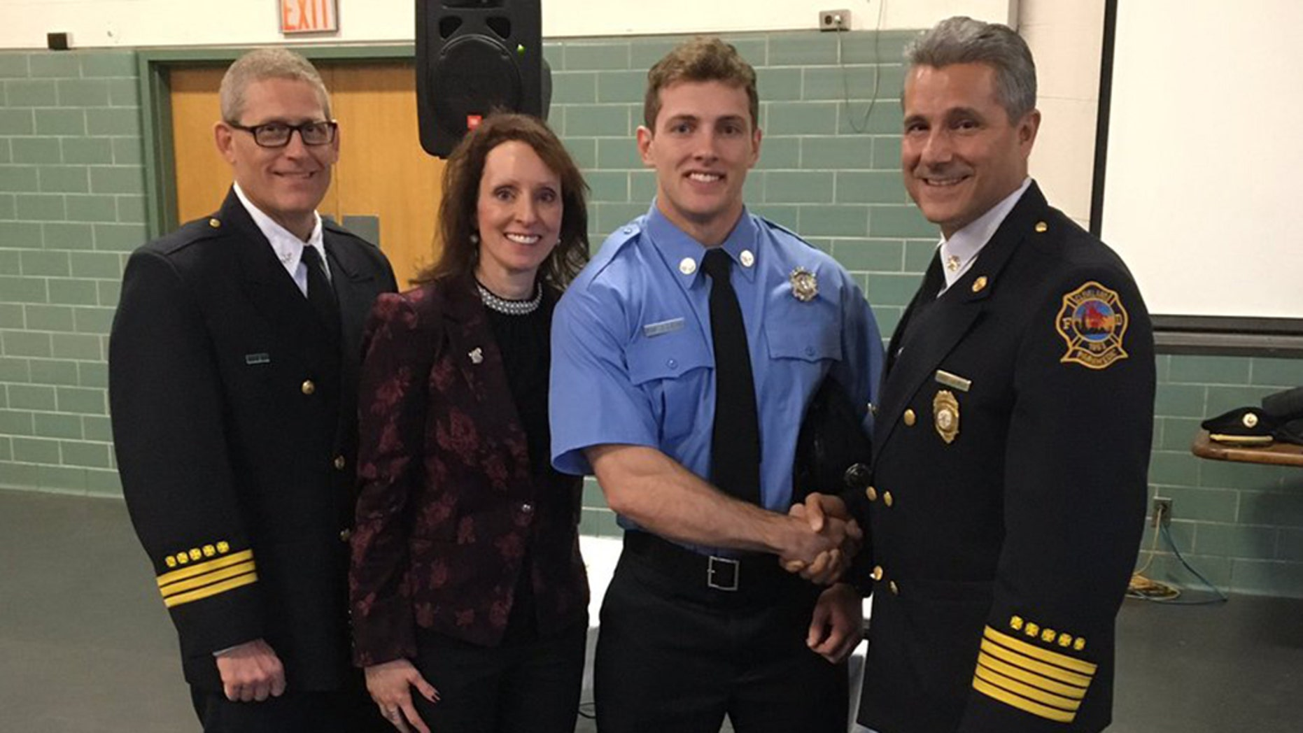 Justin Leon was one of 19 cadets from the 34th Fire Training Academy Class who took the oath of office at in Cleveland, Ohio, on Friday.