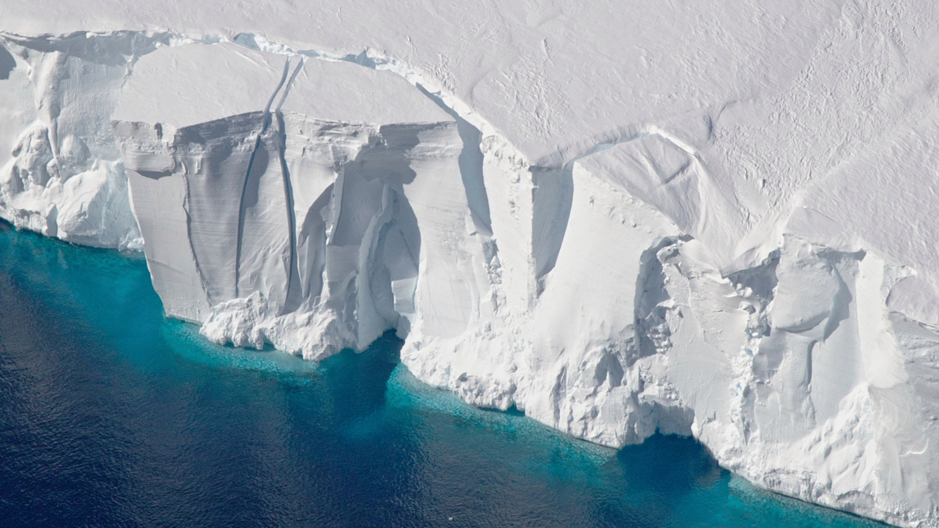 This 2016 photo provided by NASA shows the Getz Ice Shelf from 2016's Operation Icebridge in Antarctica - file photo.