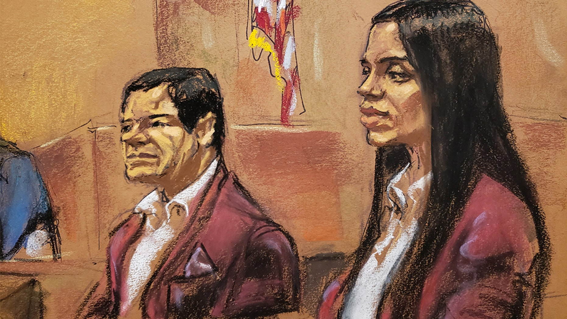 """Joaquin """"El Chapo"""" Guzman and his wife, Emma Coronel, wore matching burgundy-colored velvet jackets in court on Tuesday."""