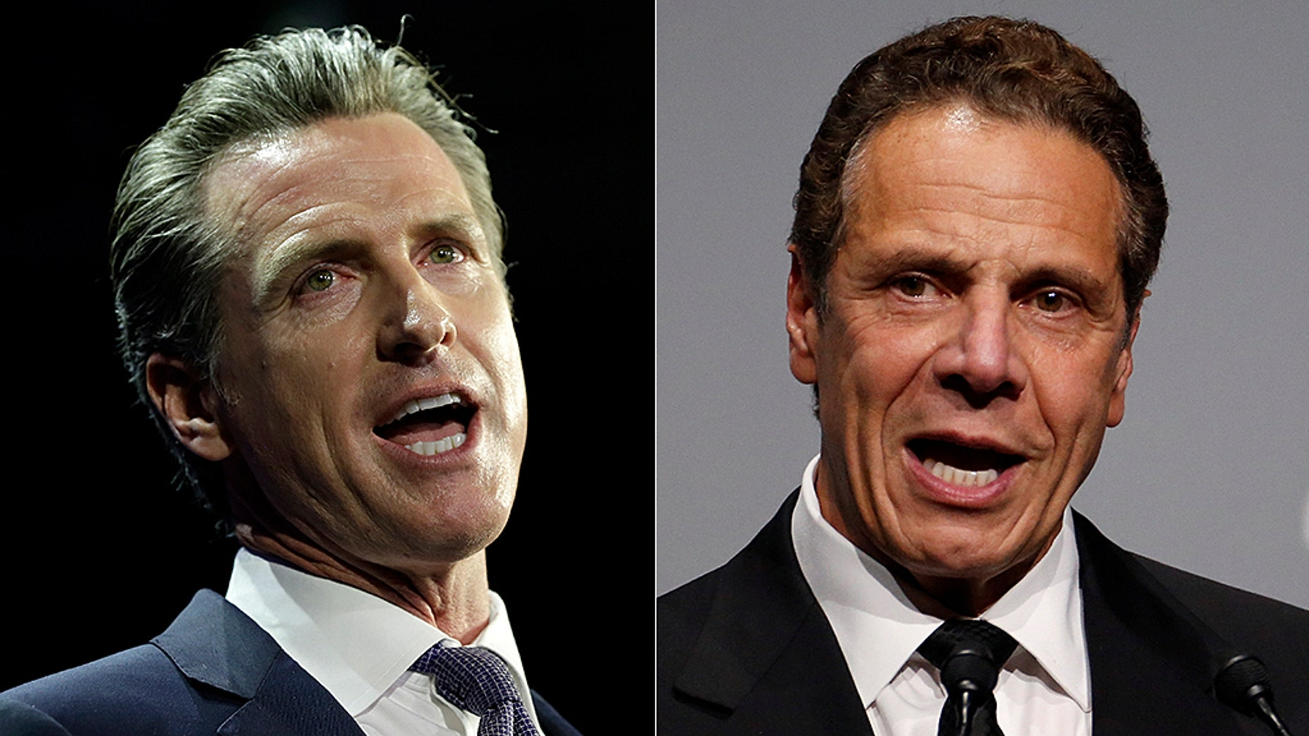 California Gov. Gavin Newson; New York Gov. Andrew Cuomo