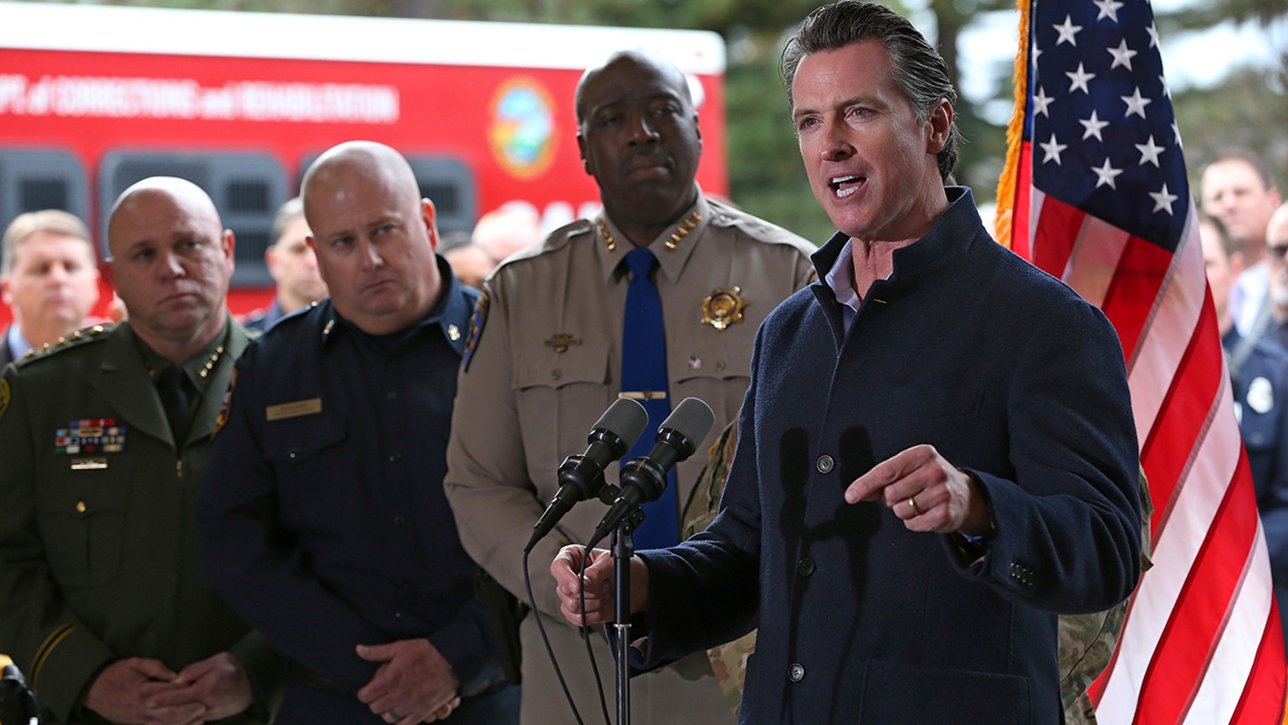 Gov. Gavin Newsom discusses emergency preparedness during a visit to the California Department of Forestry and Fire Protection CalFire Colfax Station Tuesday, Jan. 8, 2019, in Colfax, Calif. (Associated Press)
