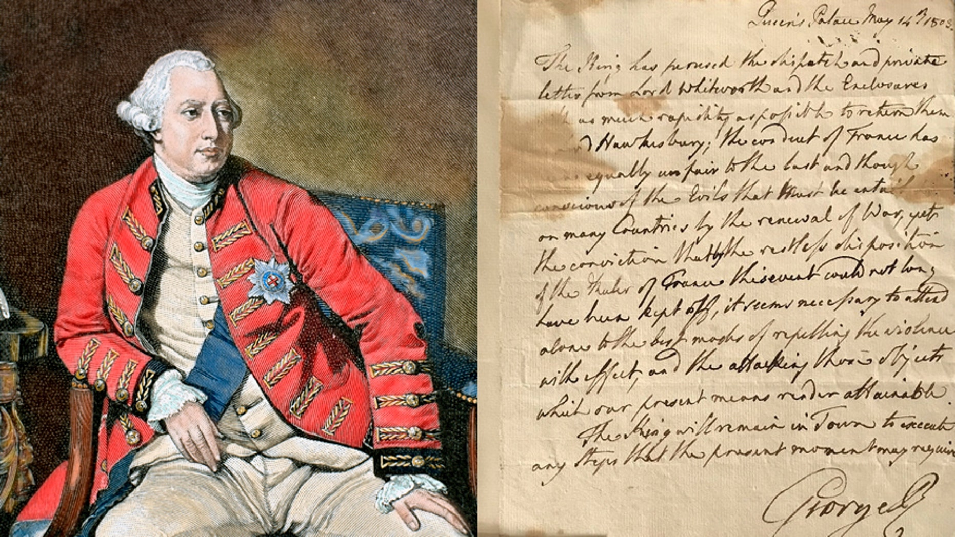George III, colored engraving/the letter declaring war. (Photo by Prisma/UIG/Getty Images/SWNS/Cheffins)