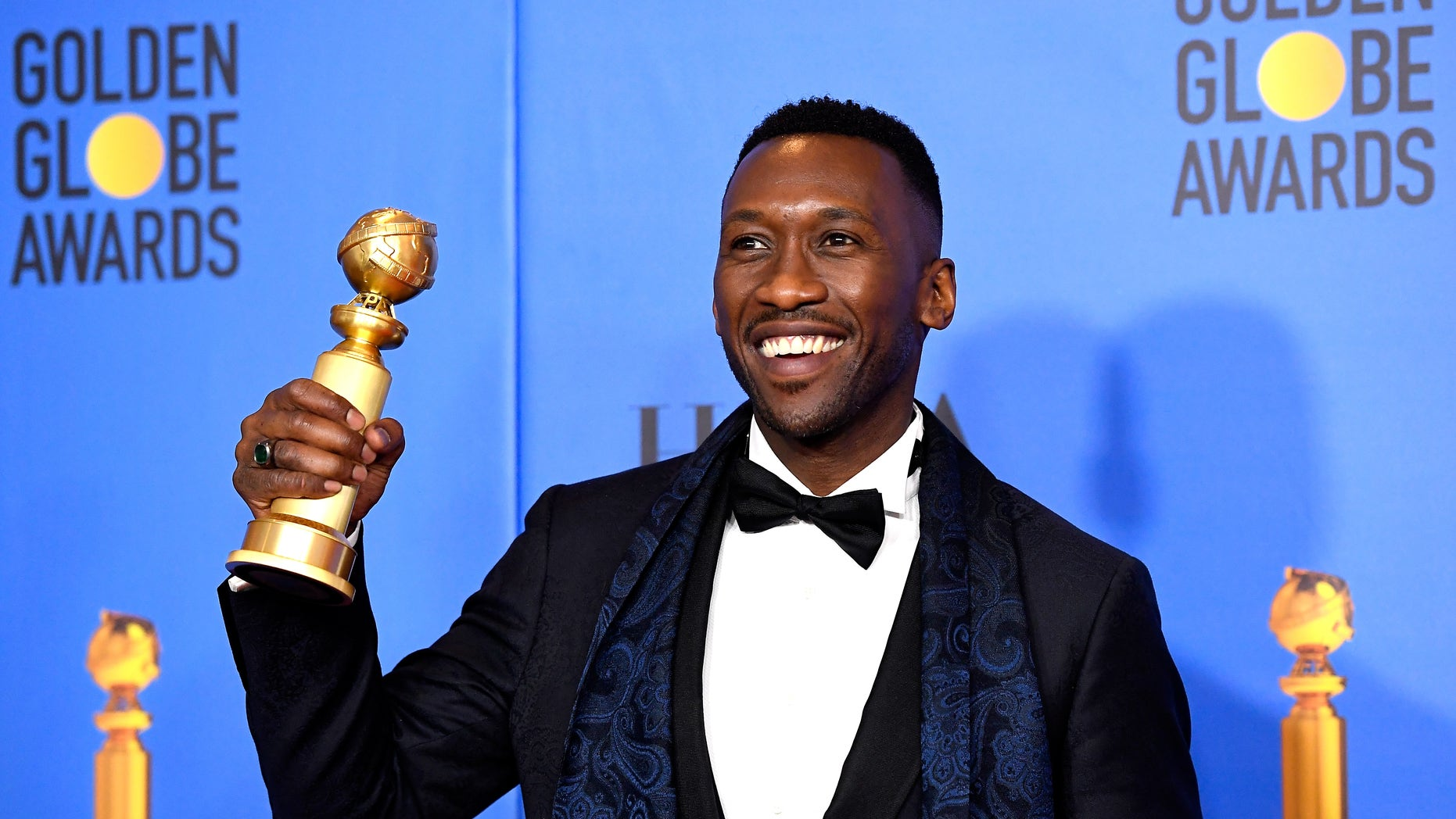 Mahershala Ali poses in the press room with award for Best Performance by an Actor in a Supporting Role in any Motion Picture 'Green Book' at the 76th Annual Golden Globe Awards held at the Beverly Hilton Hotel on January 6, 2019. -- (Photo by Kevork Djansezian/NBC/NBCU Photo Bank)