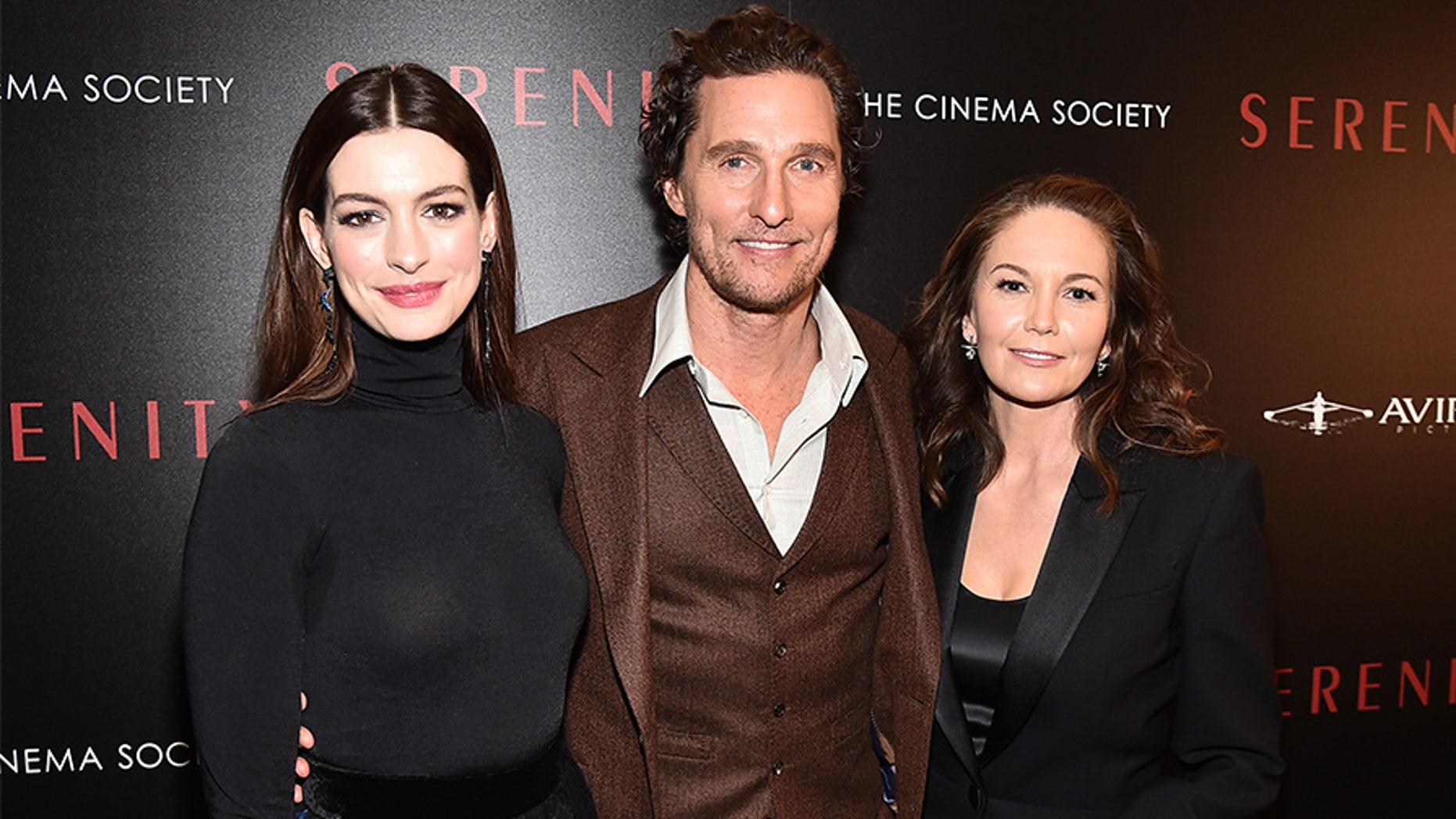 """(L-R) Anne Hathaway, Matthew McConaughey and Diane Lane attend the """"Serenity"""" New York Screening at Museum of Modern Art on January 23, 2019 in New York City."""