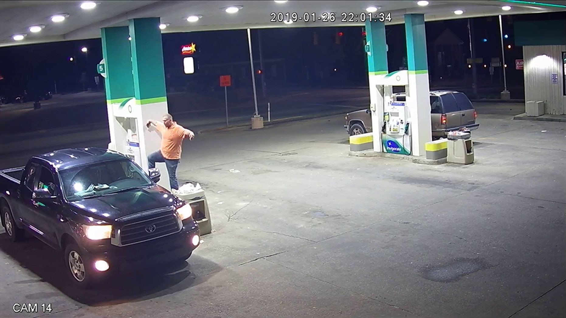 "A man was caught on surveillance video allegedly stealing someone's purse after he broke out a signature post from ""The Karate Kid"" at a gas station in South Carolina on Saturday."