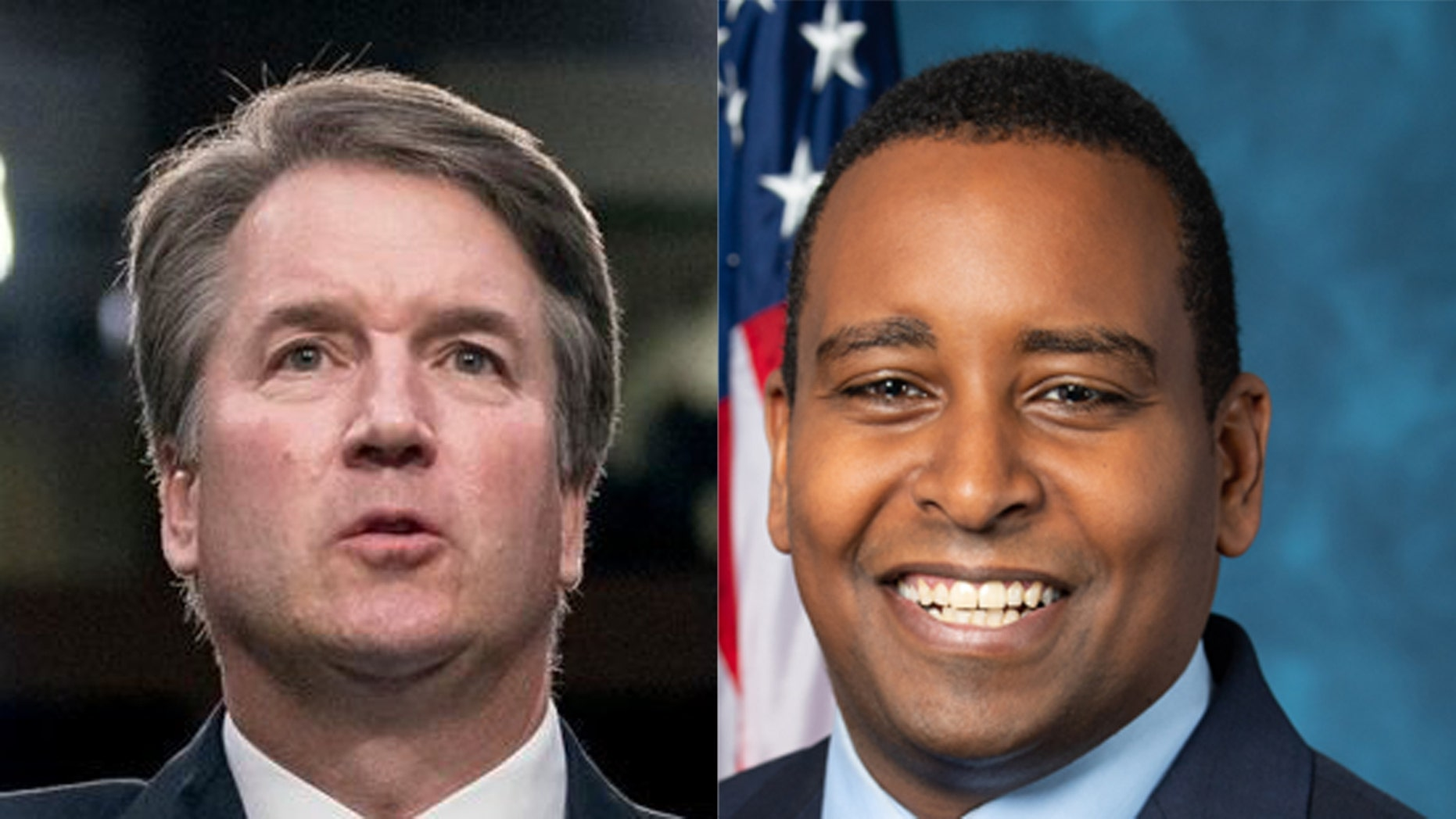 Rep. Joe Neguse, D-Colo., (right) claims Supreme Court Justice Brett Kavanaugh (left) committed perjury during the tense confirmation hearing last year, but does not say which specific statement is problematic.