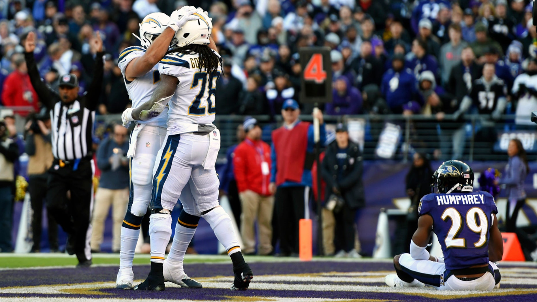 Los Angeles Chargers running back Melvin Gordon (28) celebrates his touchdown with teammate Derek Watt in front of Baltimore Ravens cornerback Marlon Humphrey (29) in the second half of an NFL wild card playoff football game, Sunday, Jan. 6, 2019, in Baltimore. (AP Photo/Gail Burton)