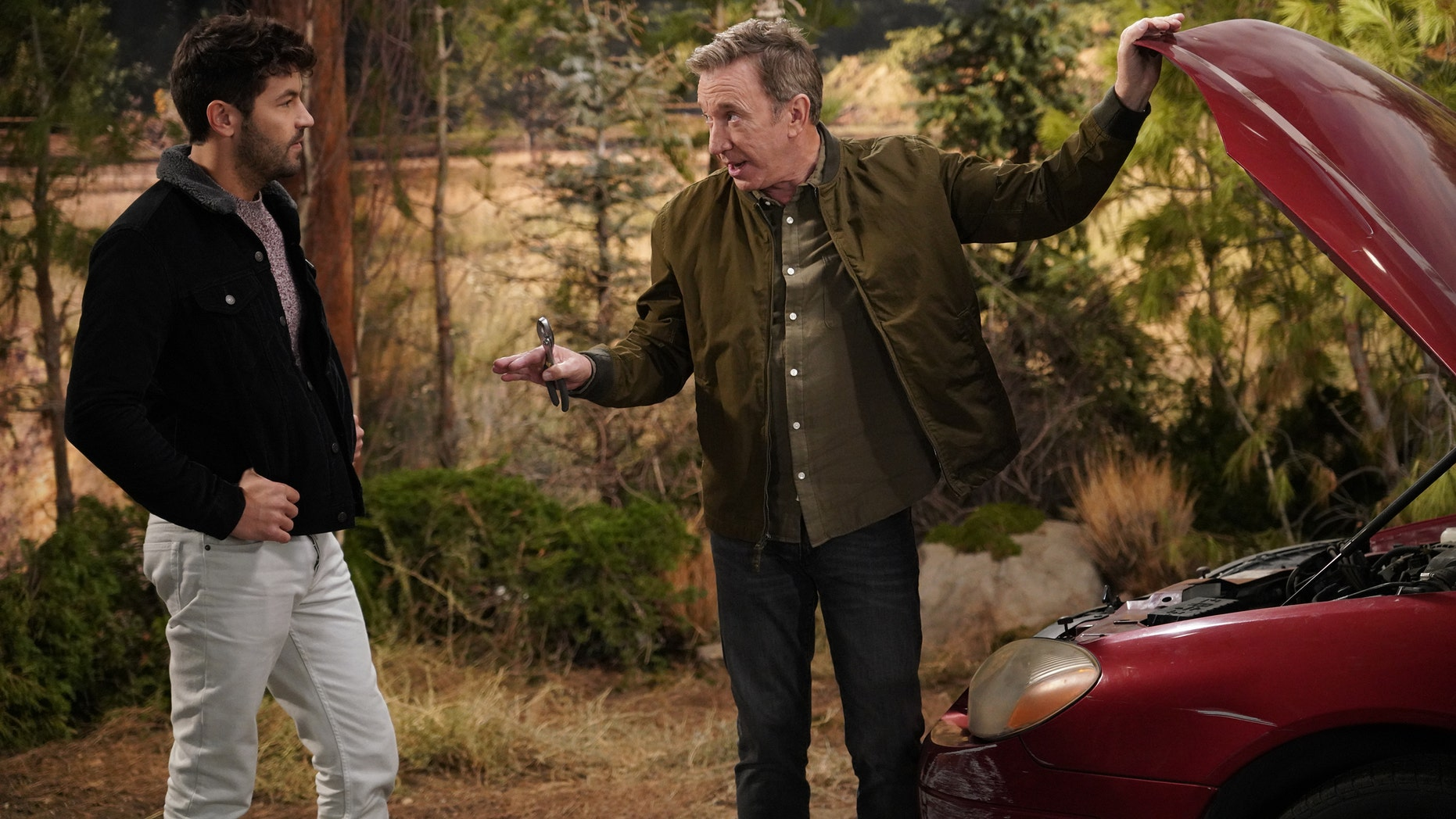 "LAST MAN STANDING: L-R: Jordan Masterson and Tim Allen in the ""3 For The Road"" episode of LAST MAN STANDING airing Friday, Jan. 4 (8:00-8:30 PM ET/PT) on FOX. © 2018 FOX Broadcasting. CR: Michael Becker / FOX"