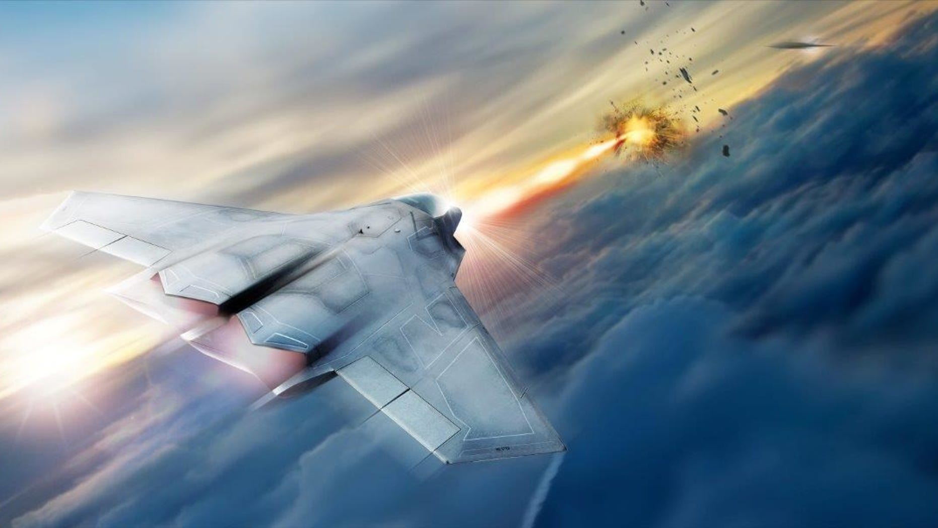Artist's impression of high energy laser system.