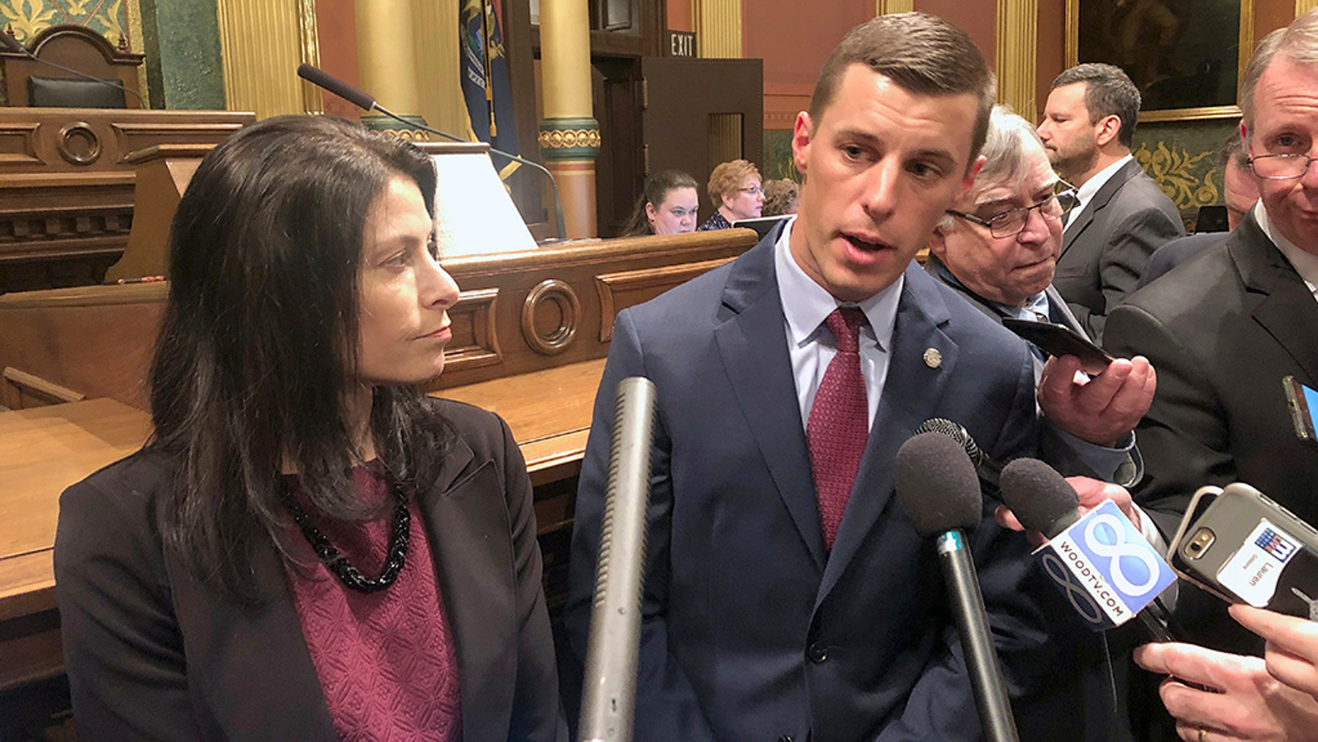 New state House Speaker Lee Chatfield (left), a Republican, sent President Trump a formal invitation to deliver the State of the Union address from the House chamber in Michigan's state capitol.
