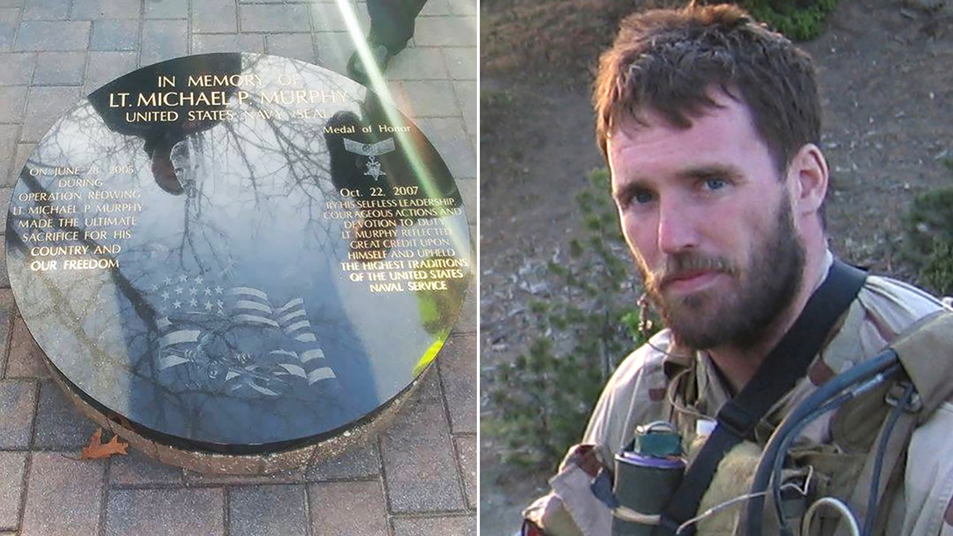 A new memorial honoring the late Navy SEAL and Medal of Honor recipient Lt. Michael P. Murphy was installed Thursday at a park in Lake Ronkonkoma, N.Y., after the original was vandalized last July.