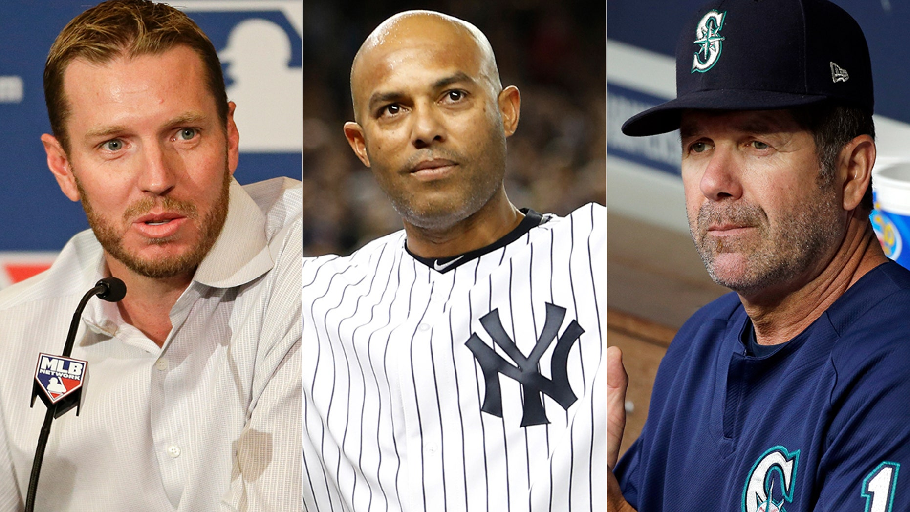 Roy Halladay, left, Mariano Rivera, center, and Edgar Martinez are the favorites to get into the Baseball Hall of Fame this year.