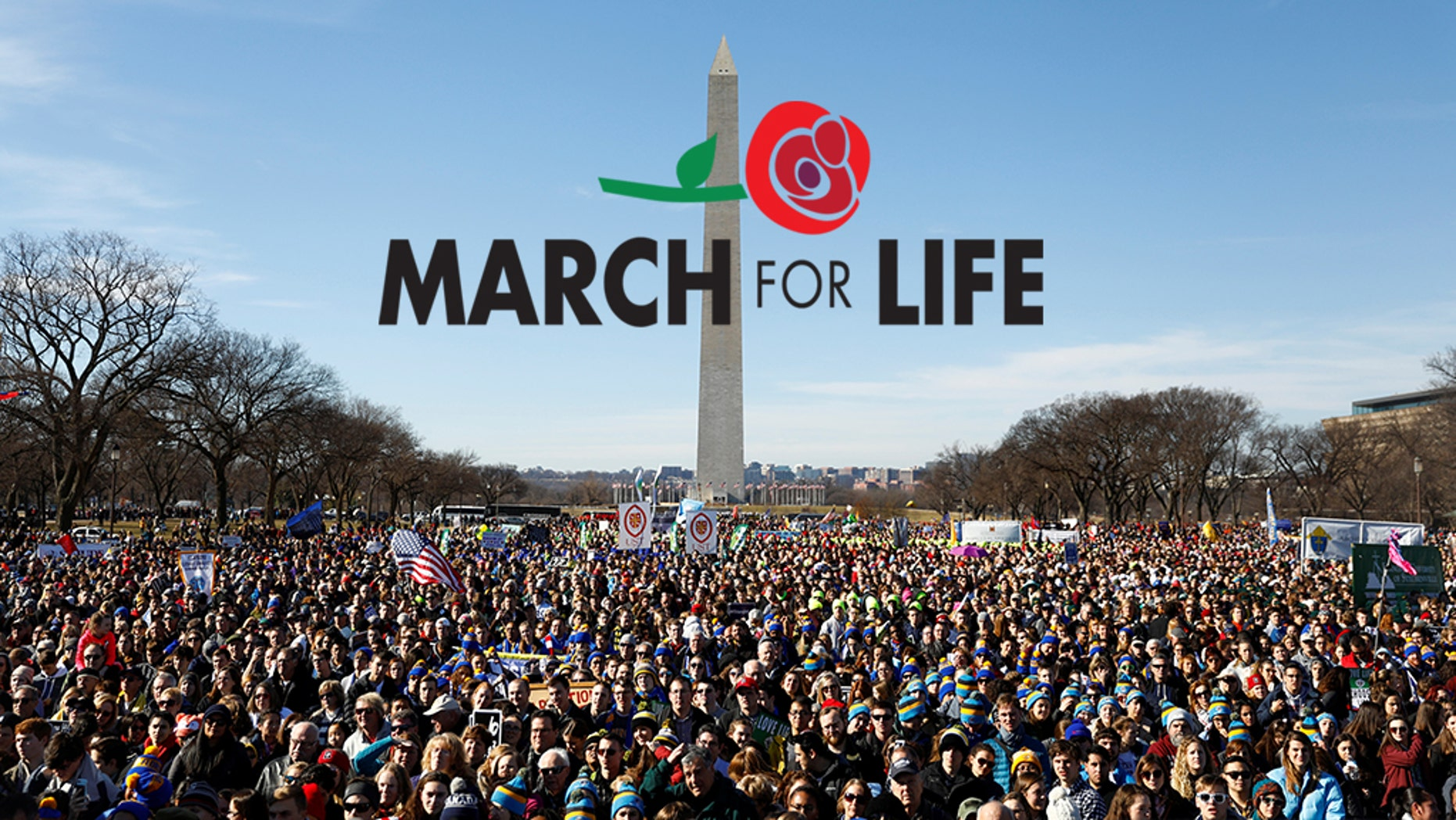 Participants attend the annual March for Life anti-abortion rally in front of the Washington Monument in Washington, D.C. January 19, 2018.