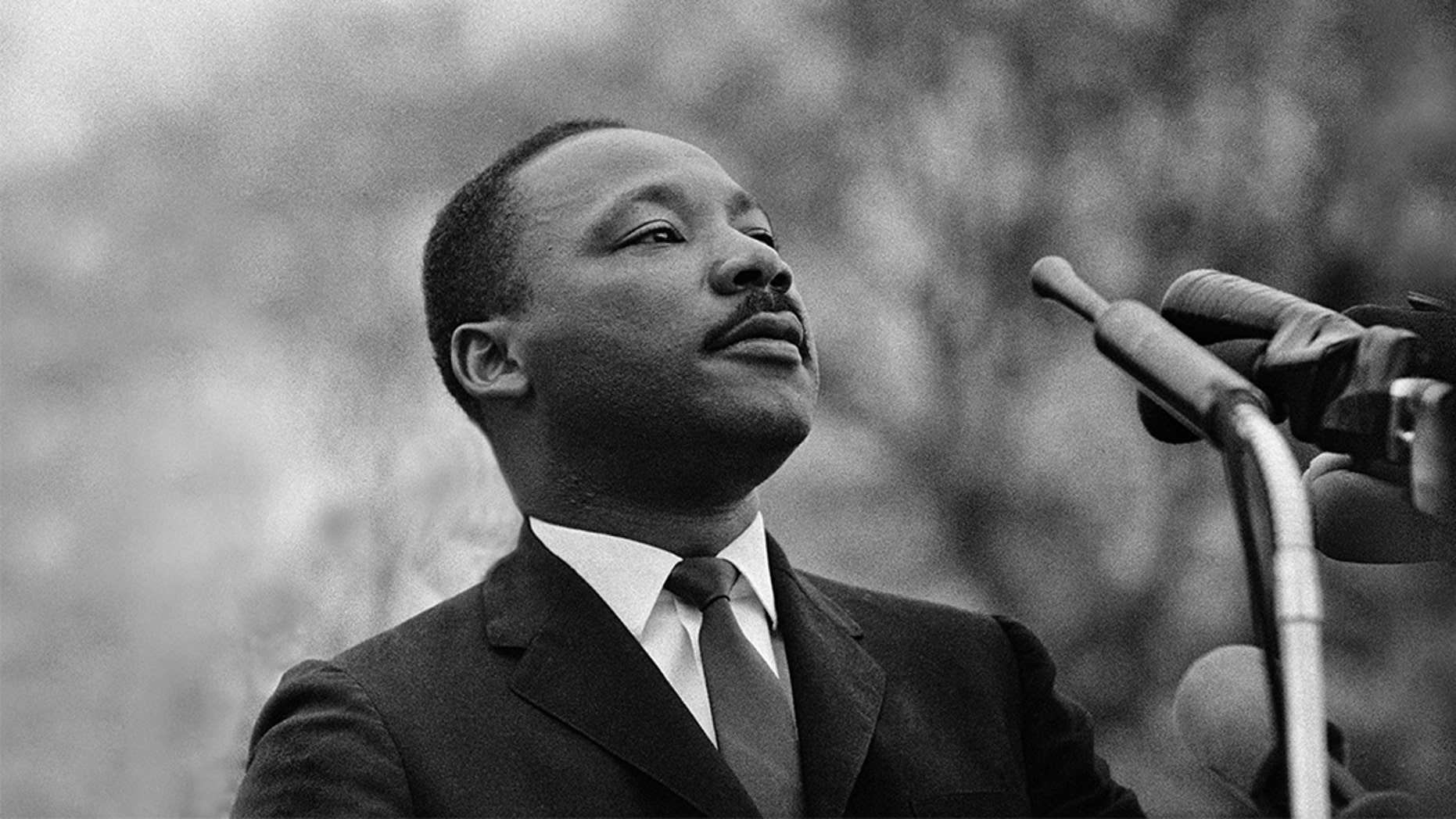 FILE-- Dr. Martin Luther King, Jr. speaking before crowd of 25,000 Selma To Montgomery, Alabama civil rights marchers, in front of Montgomery, Alabama state capital building. On March 25, 1965 in Montgomery, Alabama. (Photo by Stephen F. Somerstein/Getty Images)