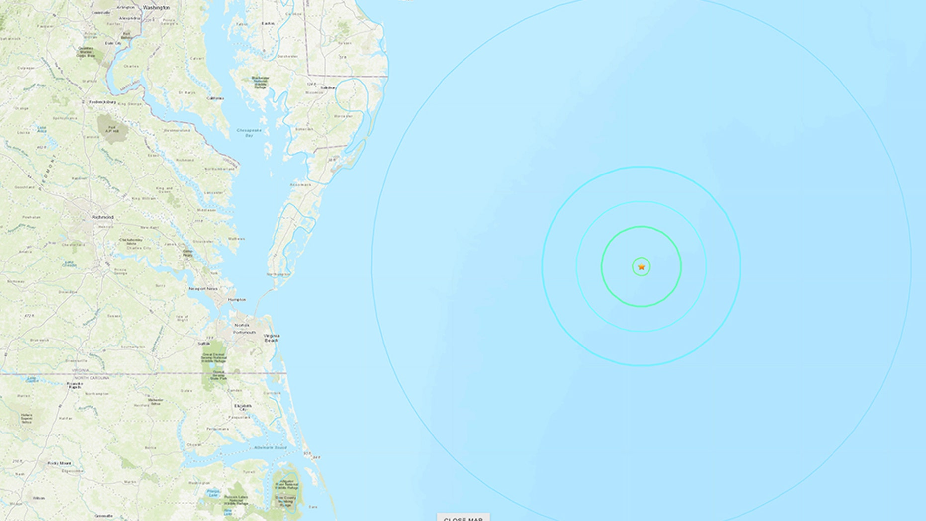 A 4.7-magnitude earthquake struck off the coast of Maryland Tuesday evening, officials said.