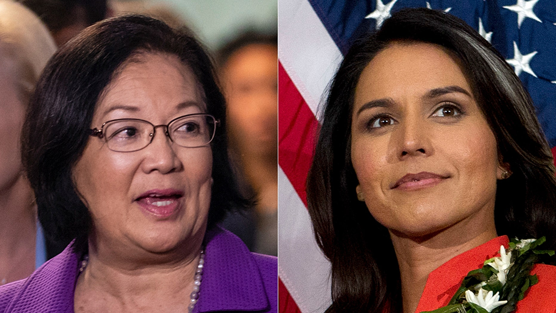 Sen. Mazie Hirono, left, is among the senators taking heat from Rep. Tulsi Gabbard for questioning a court pick's Knights of Columbus membership.