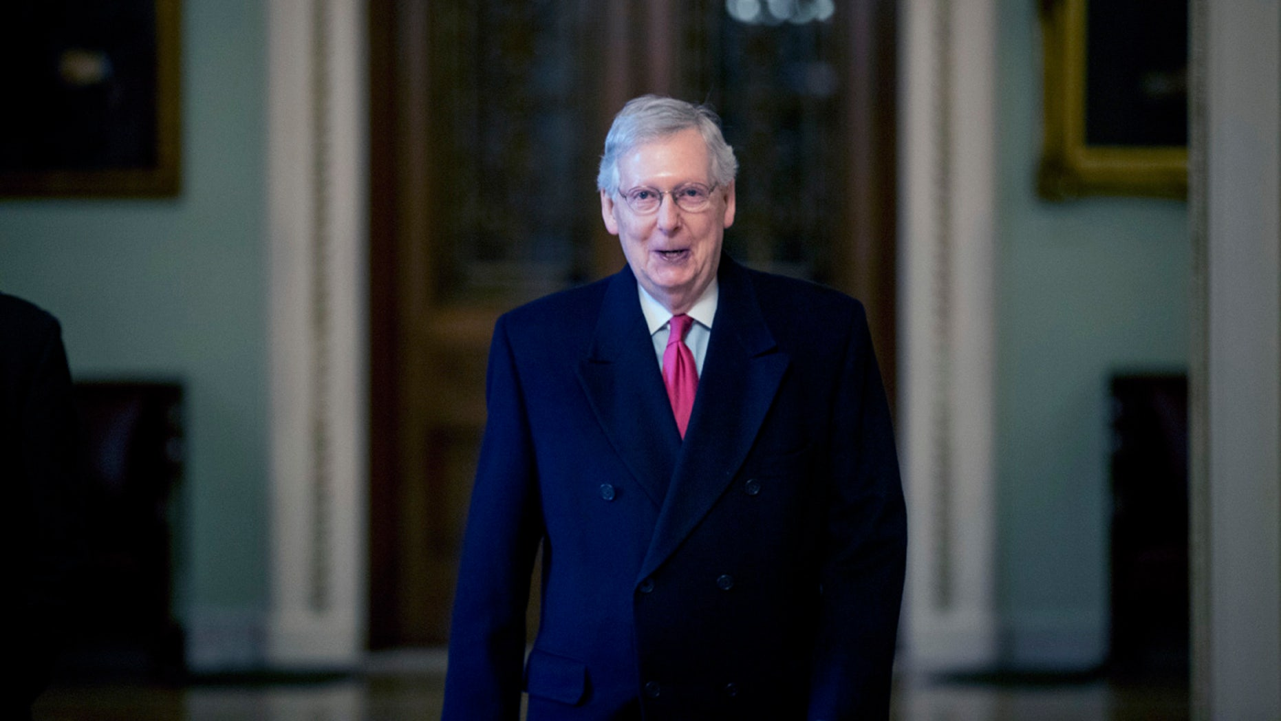 In this Jan. 3, 2019, photo, Senate Majority Leader Mitch McConnell of Ky. arrives on Capitol Hill in Washington, as the 116th Congress begins. (AP Photo/Andrew Harnik)