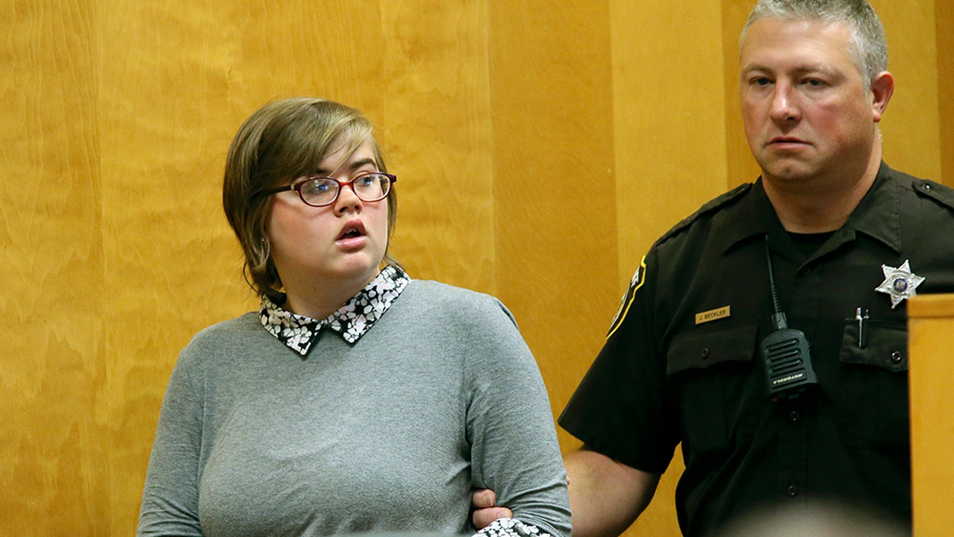 Morgan Geyser, one of two Wisconsin girls who repeatedly stabbed a classmate to death, shouldn't have been tried in adult court because she believed a fictional horror character named Slender Man would attack her family if she didn't kill the girl, according to an appeal filed by her attorney. (Michael Sears/Milwaukee Journal-Sentinel via AP, Pool, File)
