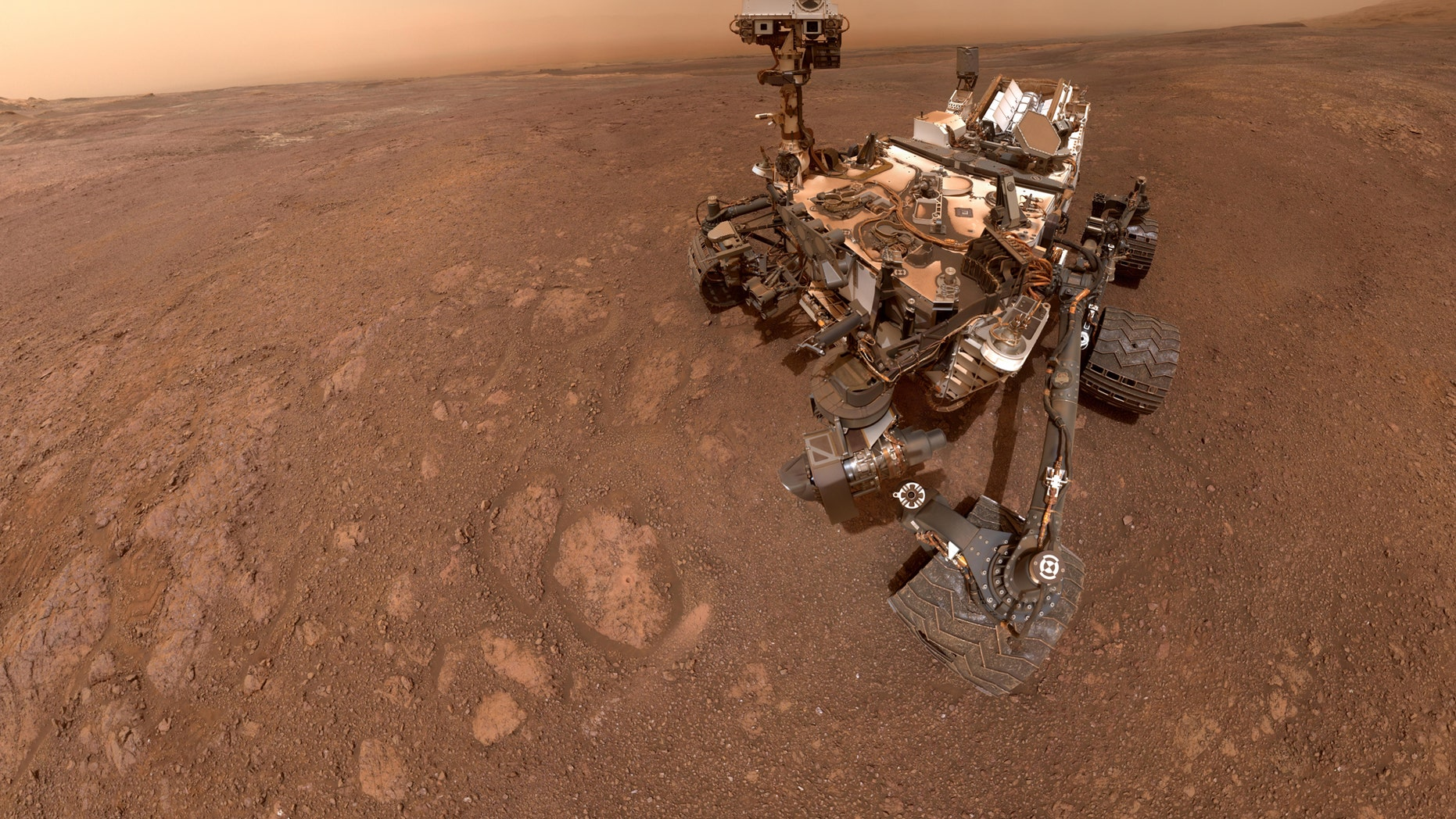 "The selfie taken by NASA's Curiosity Mars rover on Jan. 15 at the ""Rock Hall"" drill site on the Red Planet's Vera Rubin Ridge."
