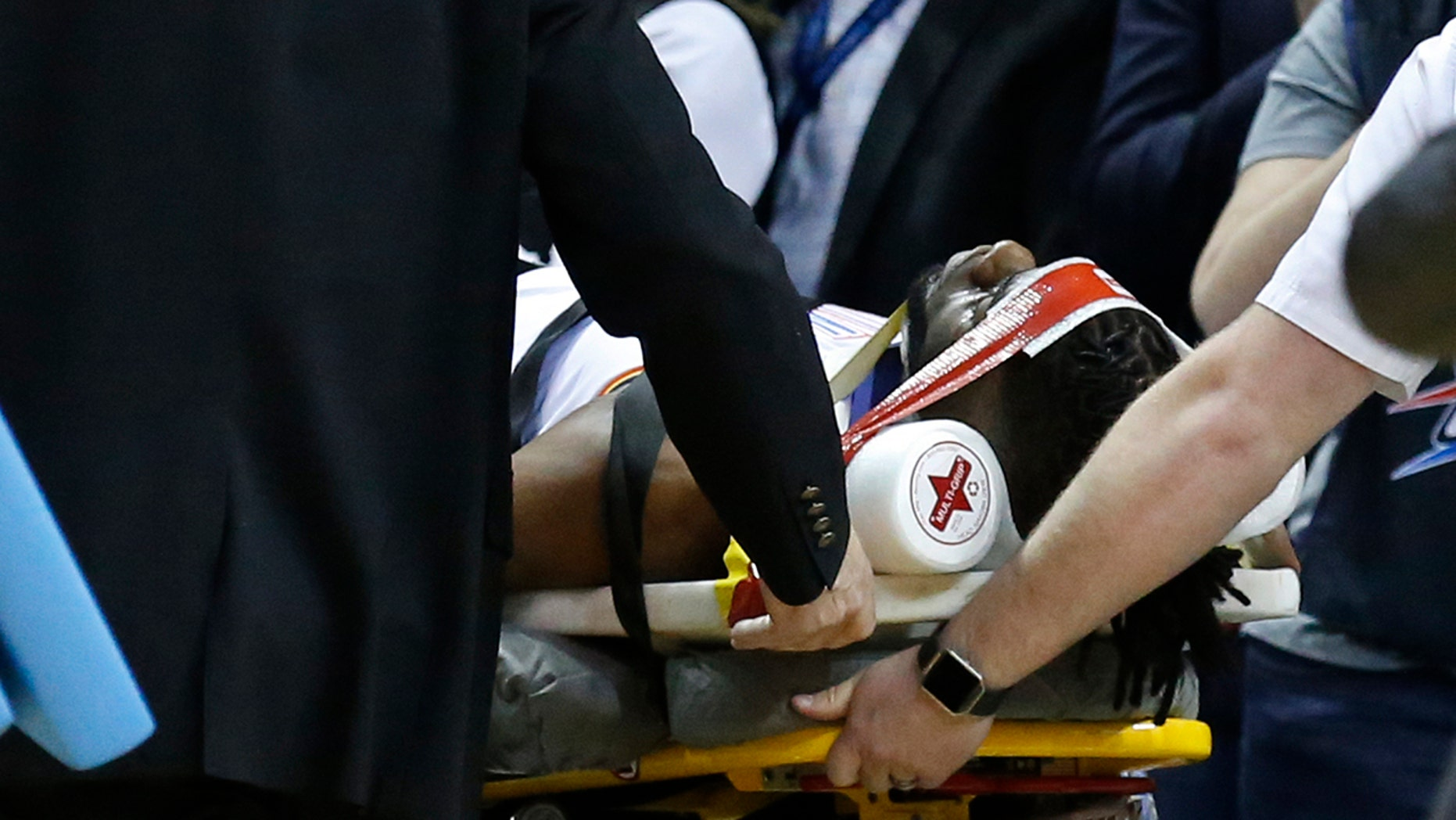 Oklahoma City Thunder Forward Nerlens Noel Is Wheeled Off The Court On A Stretcher In